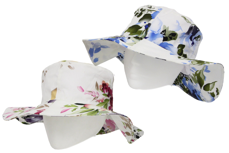Ladies Floral Wide Brim Cotton Hat