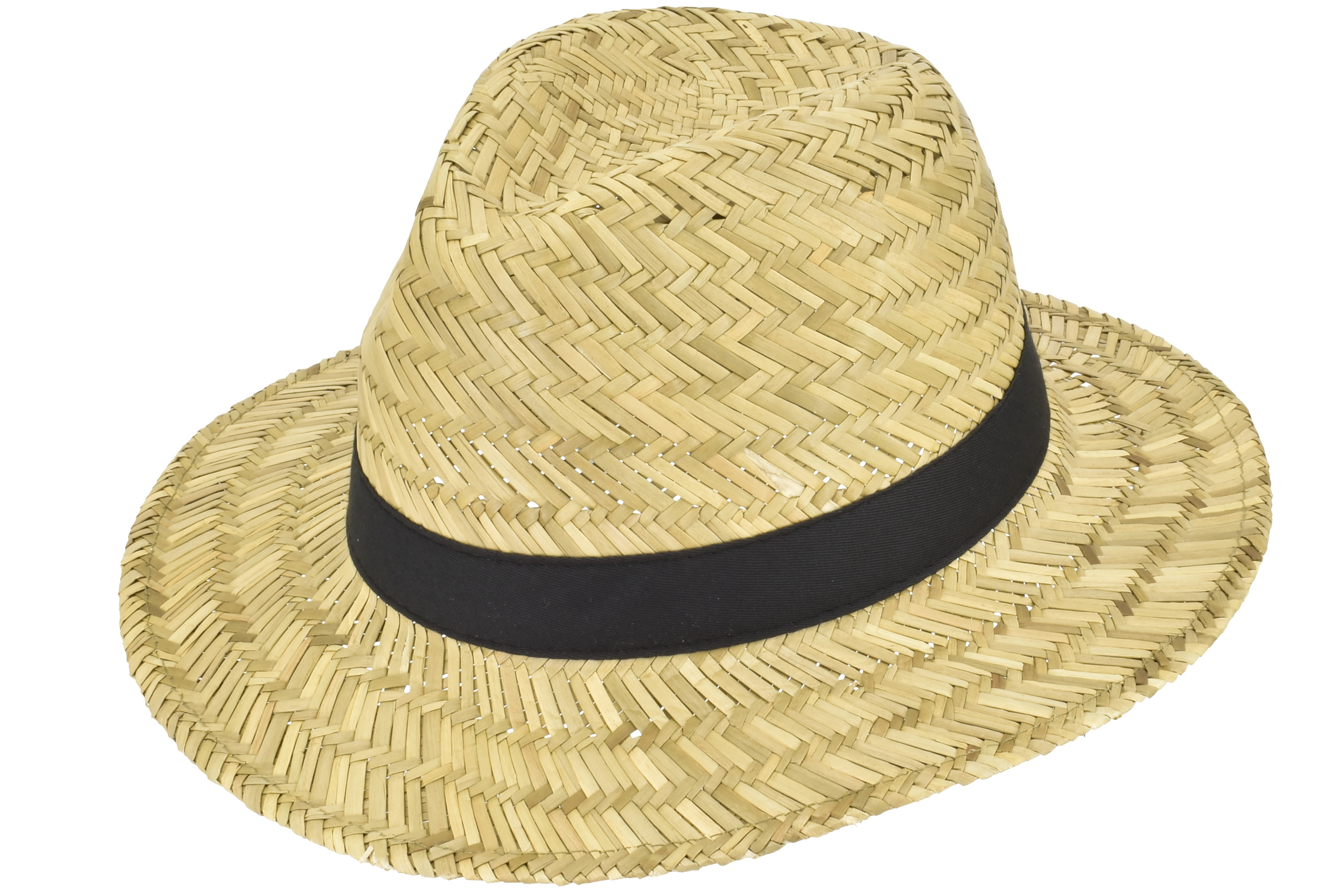 Mens Straw Panama Hat With Black Band