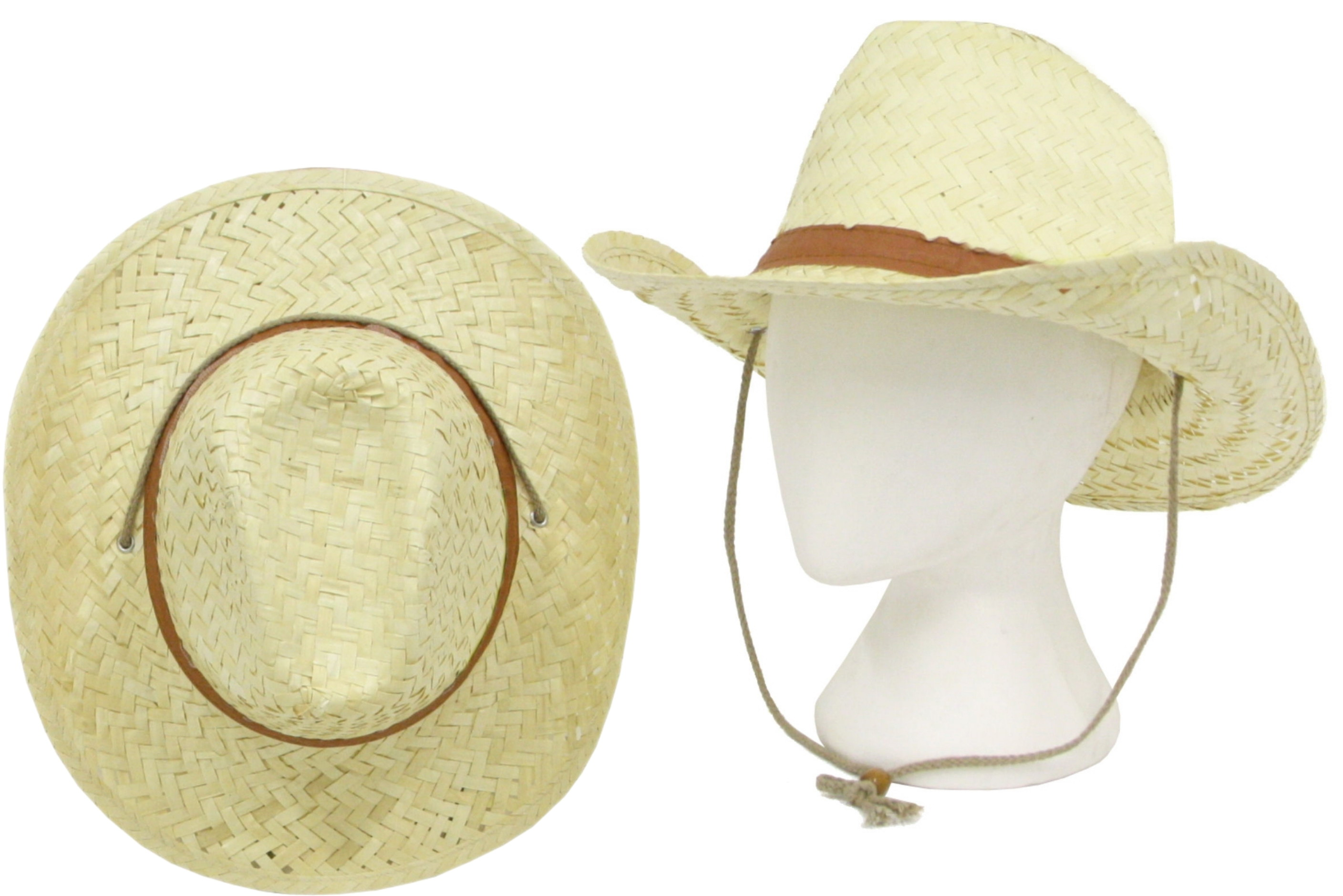 Straw Cowboy Hat With Chin Strap & Toggle