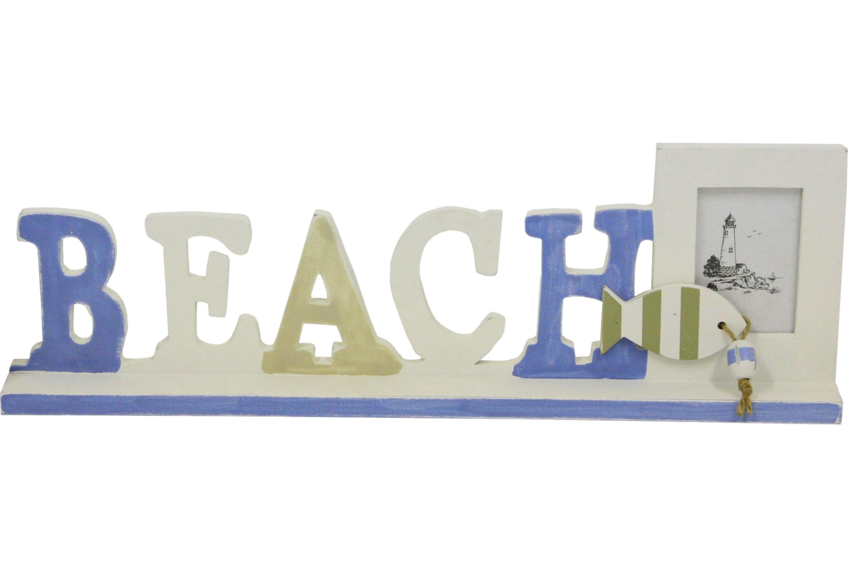 Wood Beach Sign Photo Frame 42cm