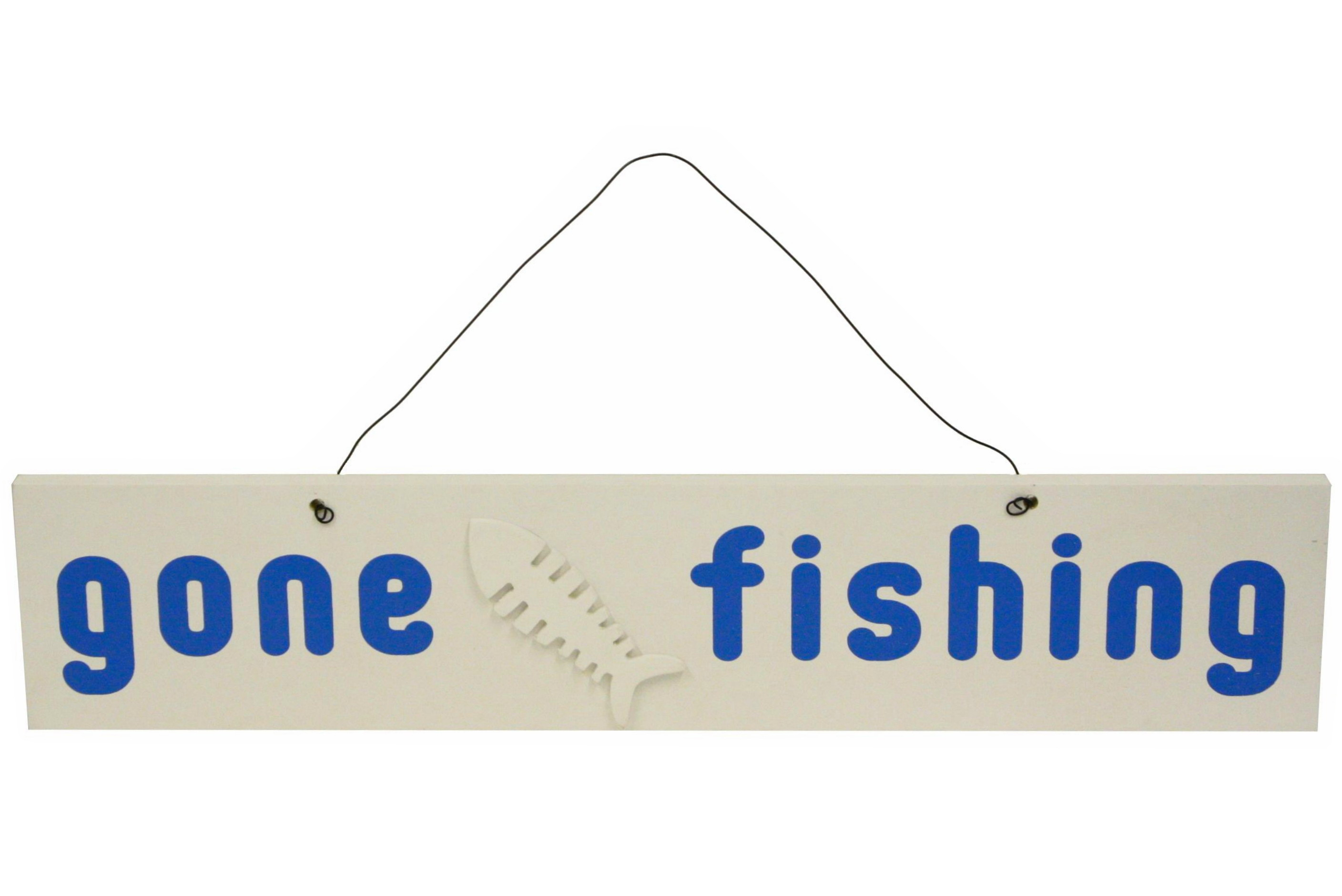Wooden Gone Fishing Hanging Sign 50cm