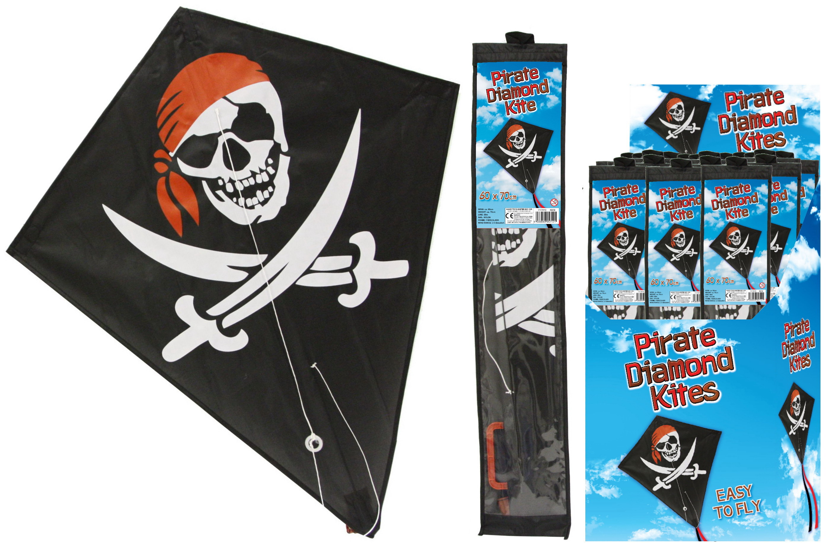 Pirate Diamond Kite 60cm x 70cm In Display Box