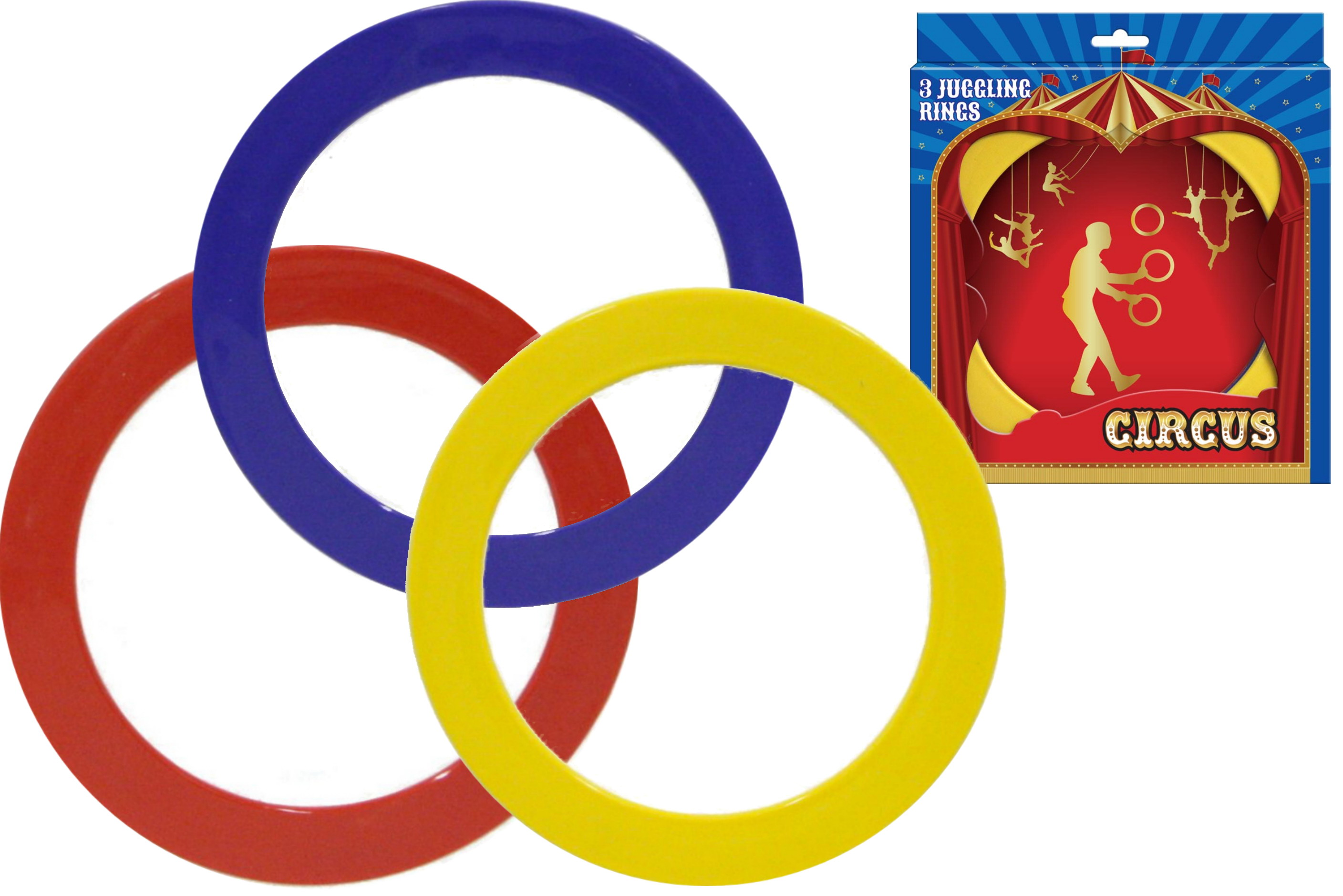 """3pc Juggling Rings In Open Touch Box """"Circus"""""""