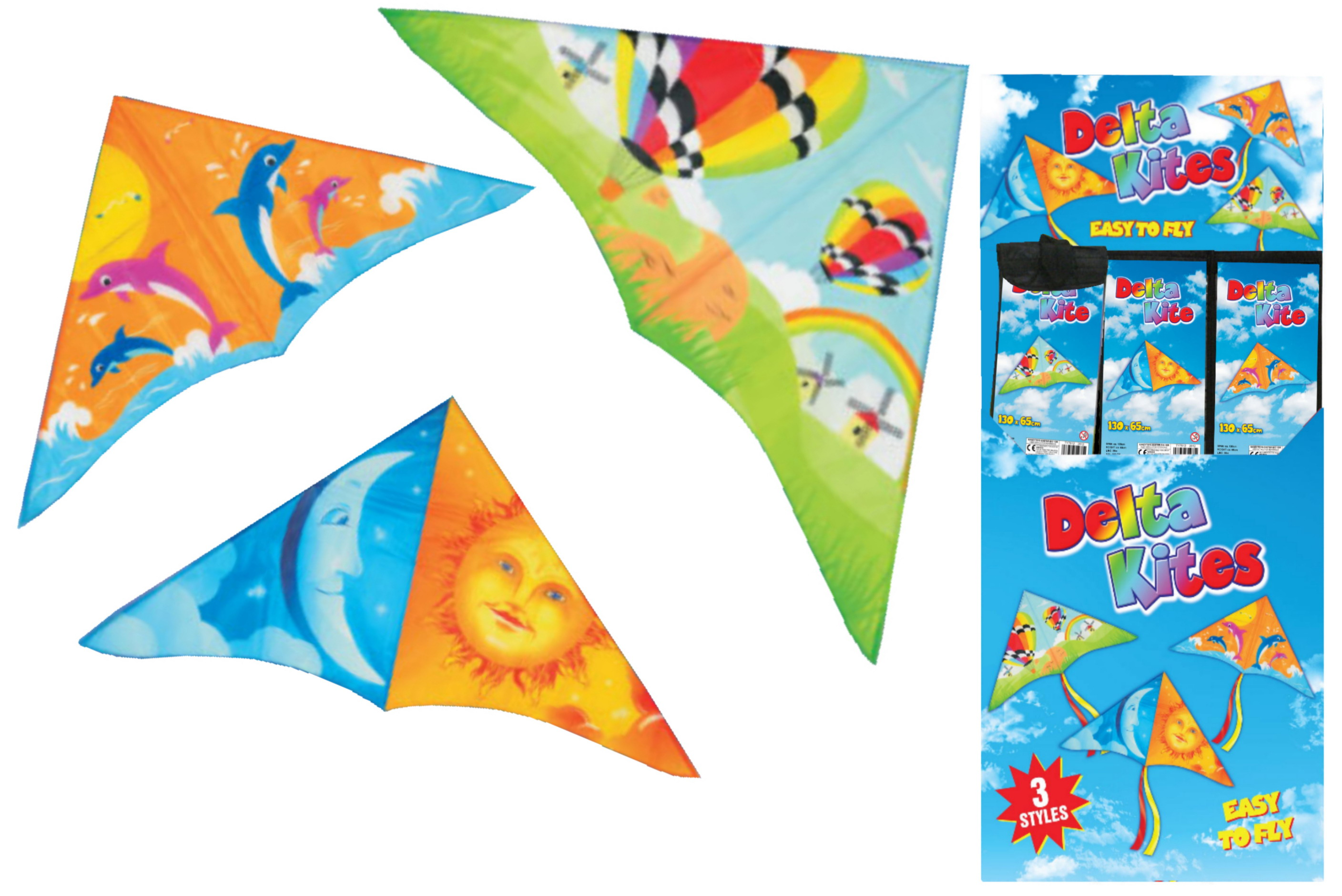 130cm x 65cm Delta Kite In Display Box - 3 Assorted
