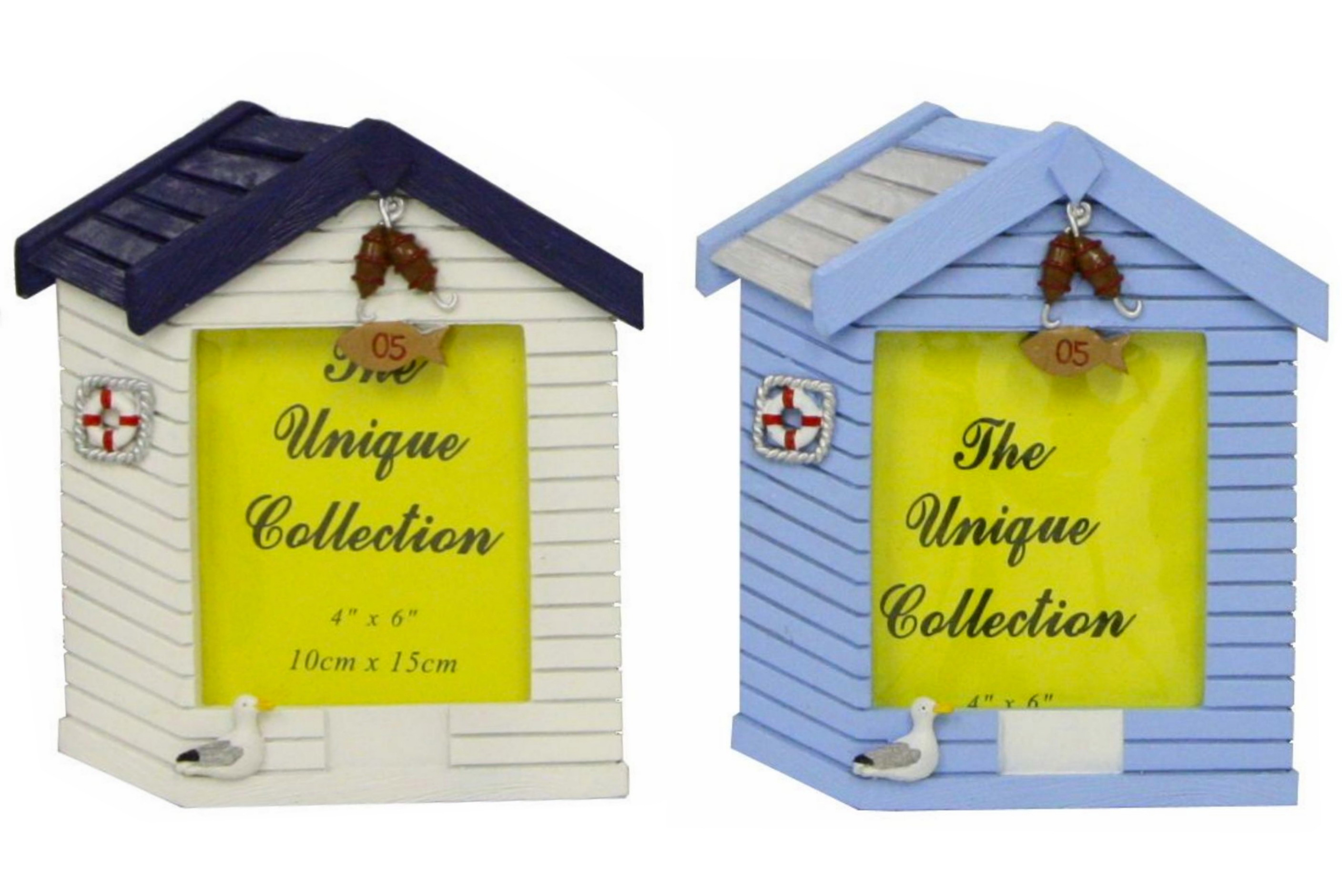 Polyresin Beach Hut Picture Frame 15cm 4 Assorted