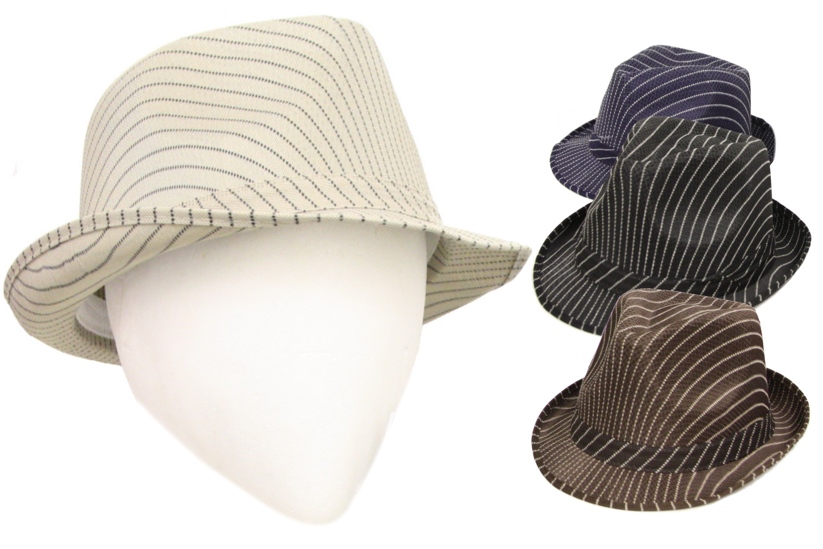 Striped Trilby Hat With Band (4 Asst Colours) Polyester