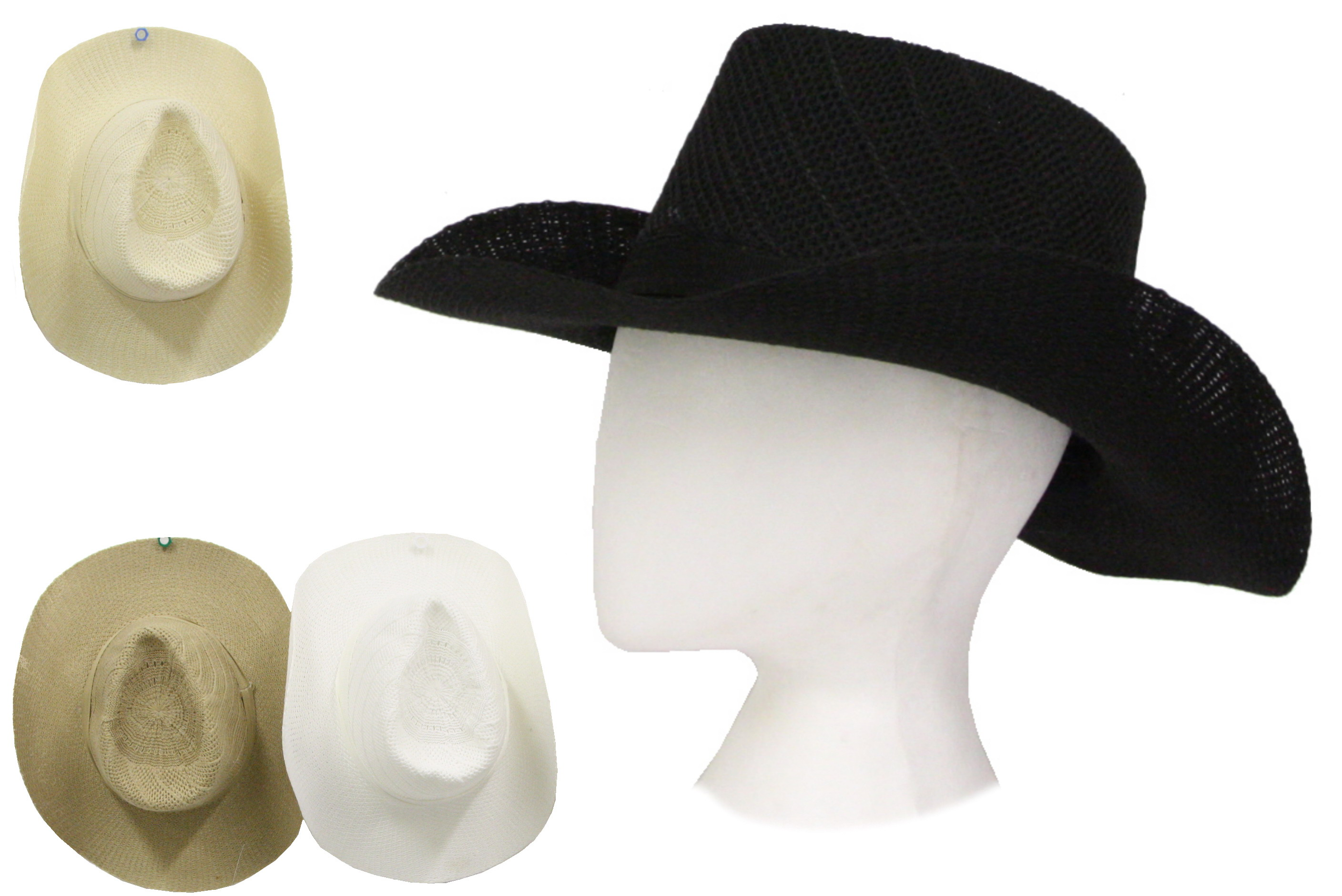 Cowboy Hat With Band (4 Assorted Colours) Polyester