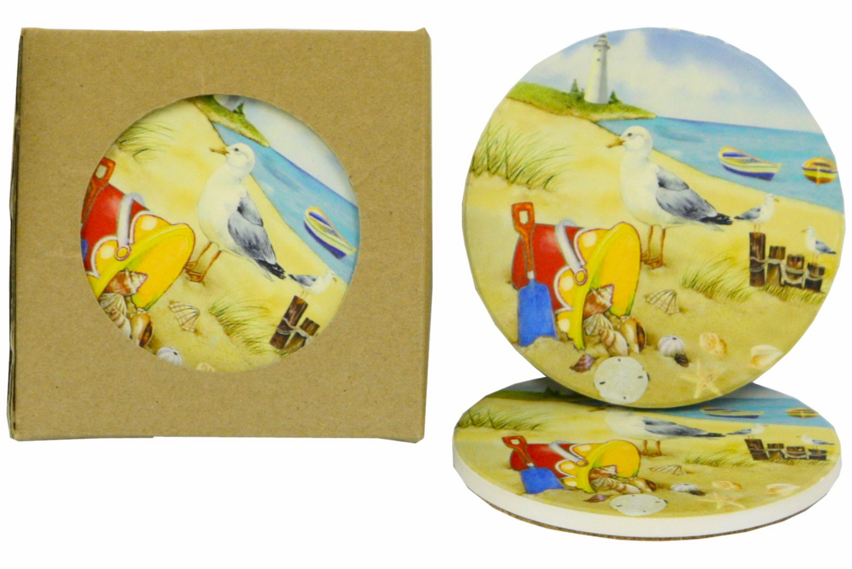 Seagull Design Coasters Set Of 4 In Window Gift Box