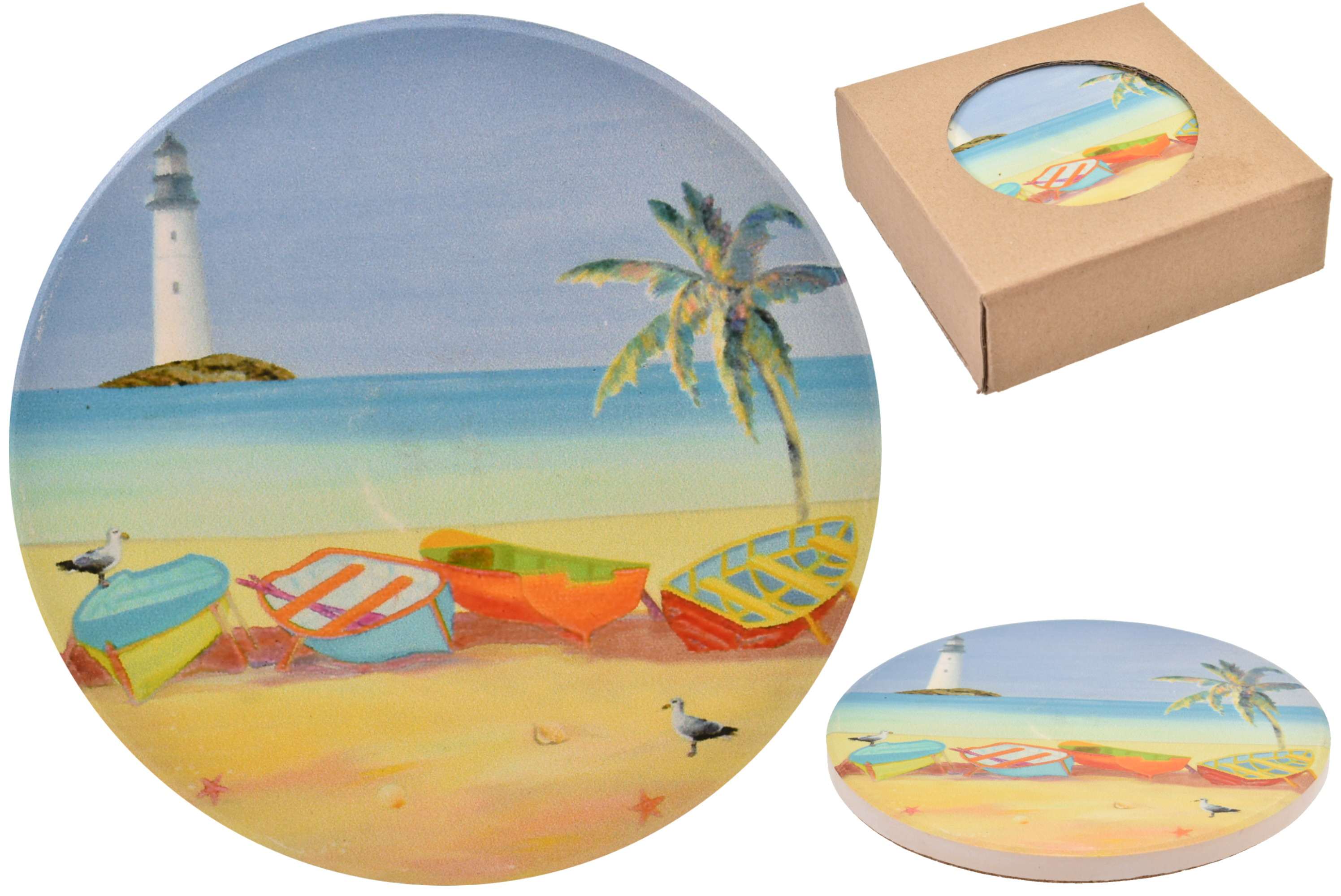 Lighthouse Design Coasters Set Of 4 In Window Gift Box
