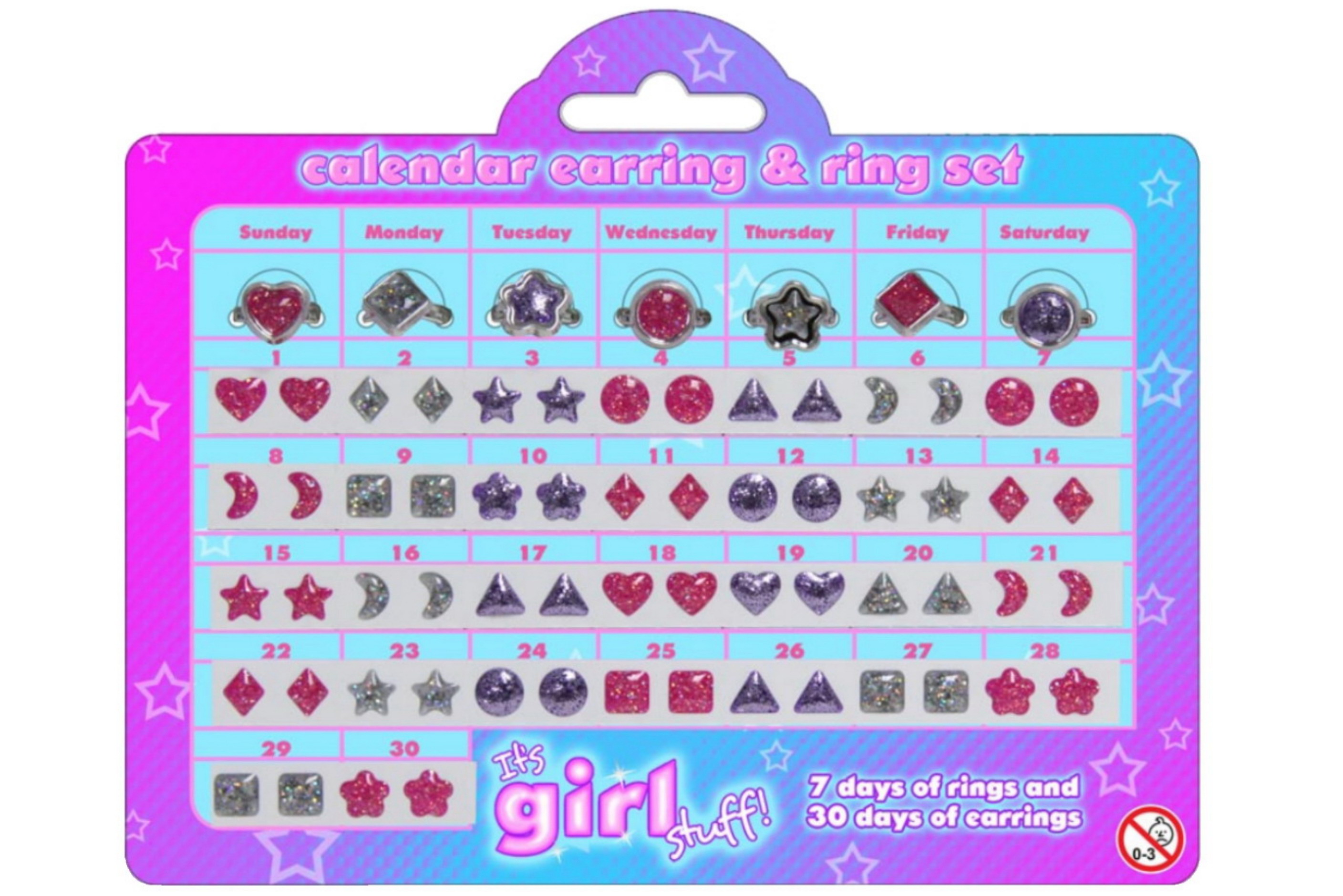 "Calendar Earring & Ring Set - 2 Asst ""Its Girl Stuff"""