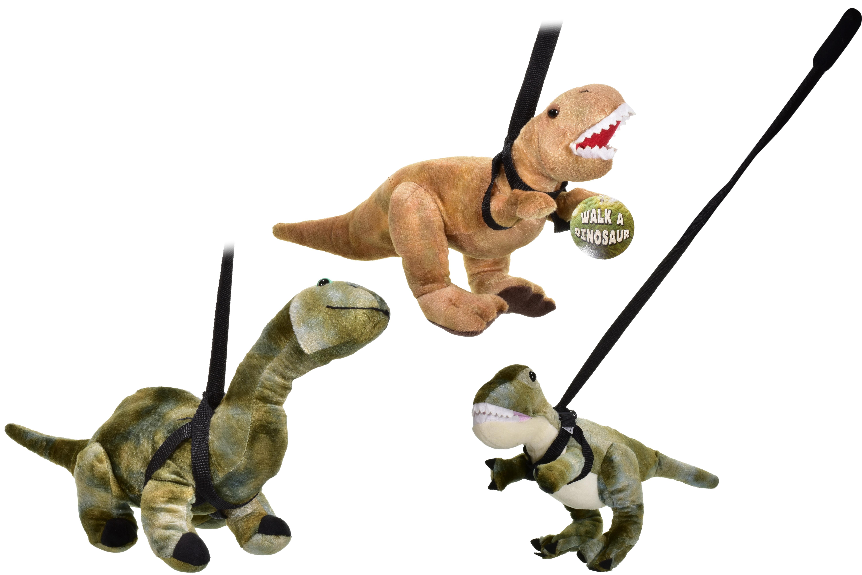 Plush Dinosaur On Lead - 3 Assorted