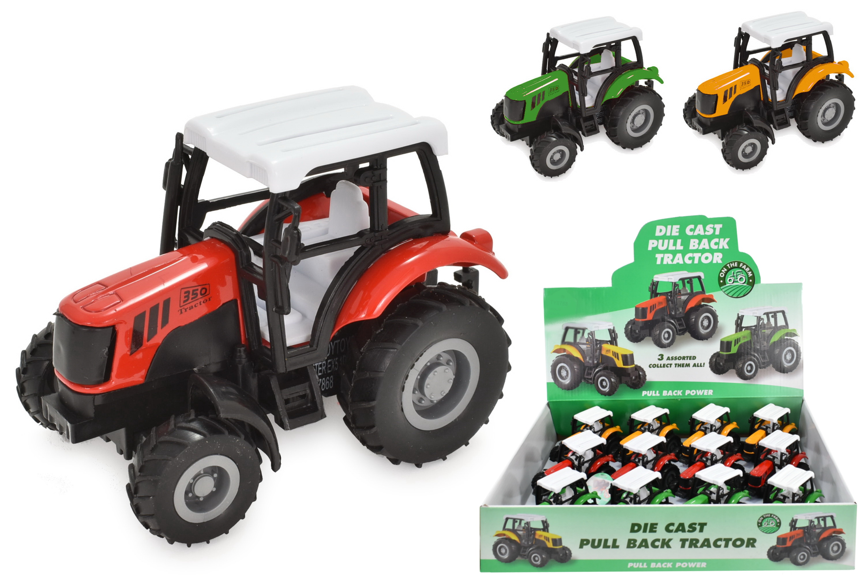 "Die Cast Pull Back Tractor In Display Box ""Farm Series"""