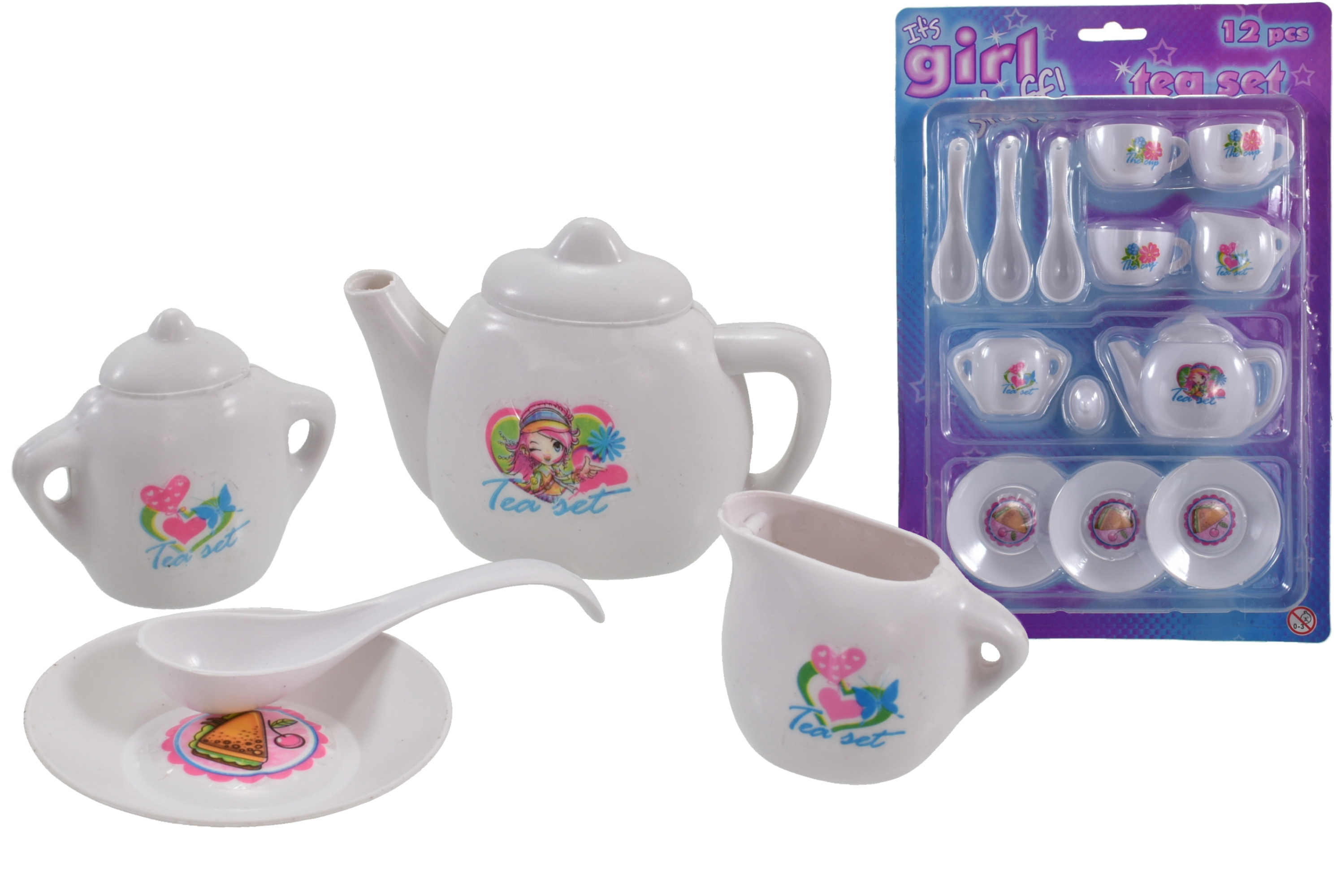 "12pc Tea Set On Blistercard ""Its Girl Stuff"""