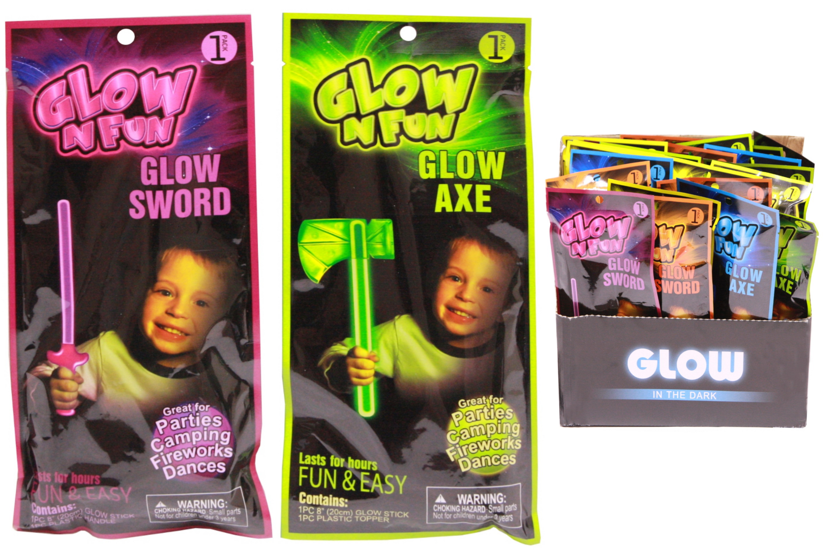 Glowstick Axes & Swords Assorted Colours In Display Box