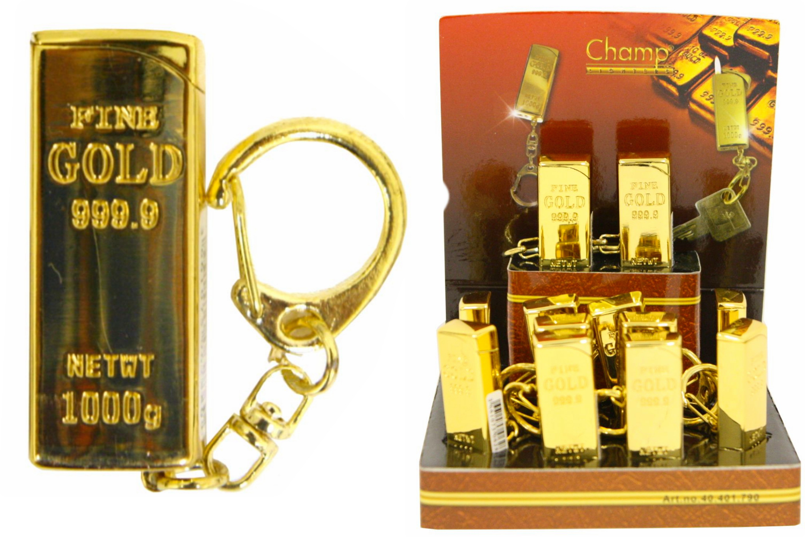 Gold Lighter With Keychain In Display