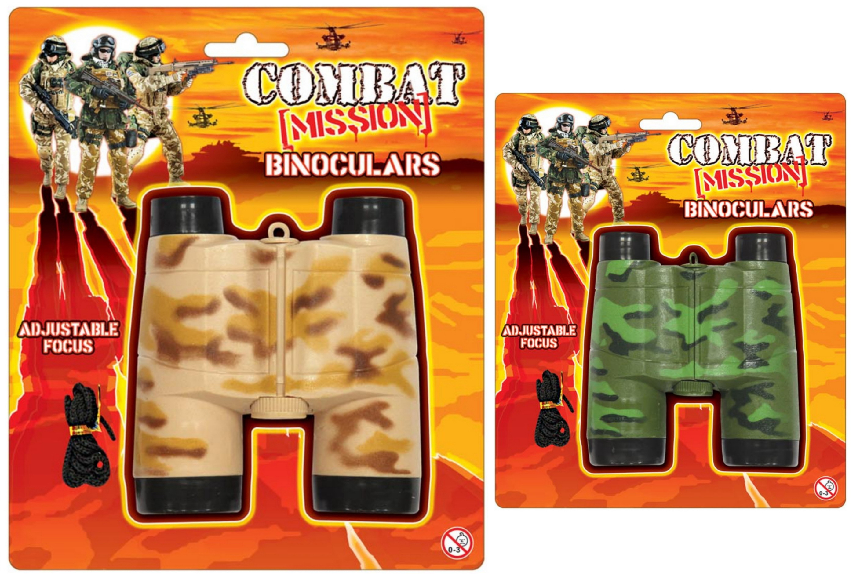 "Binoculars On Blistercard 2 Asst Cols ""Combat Mission"""