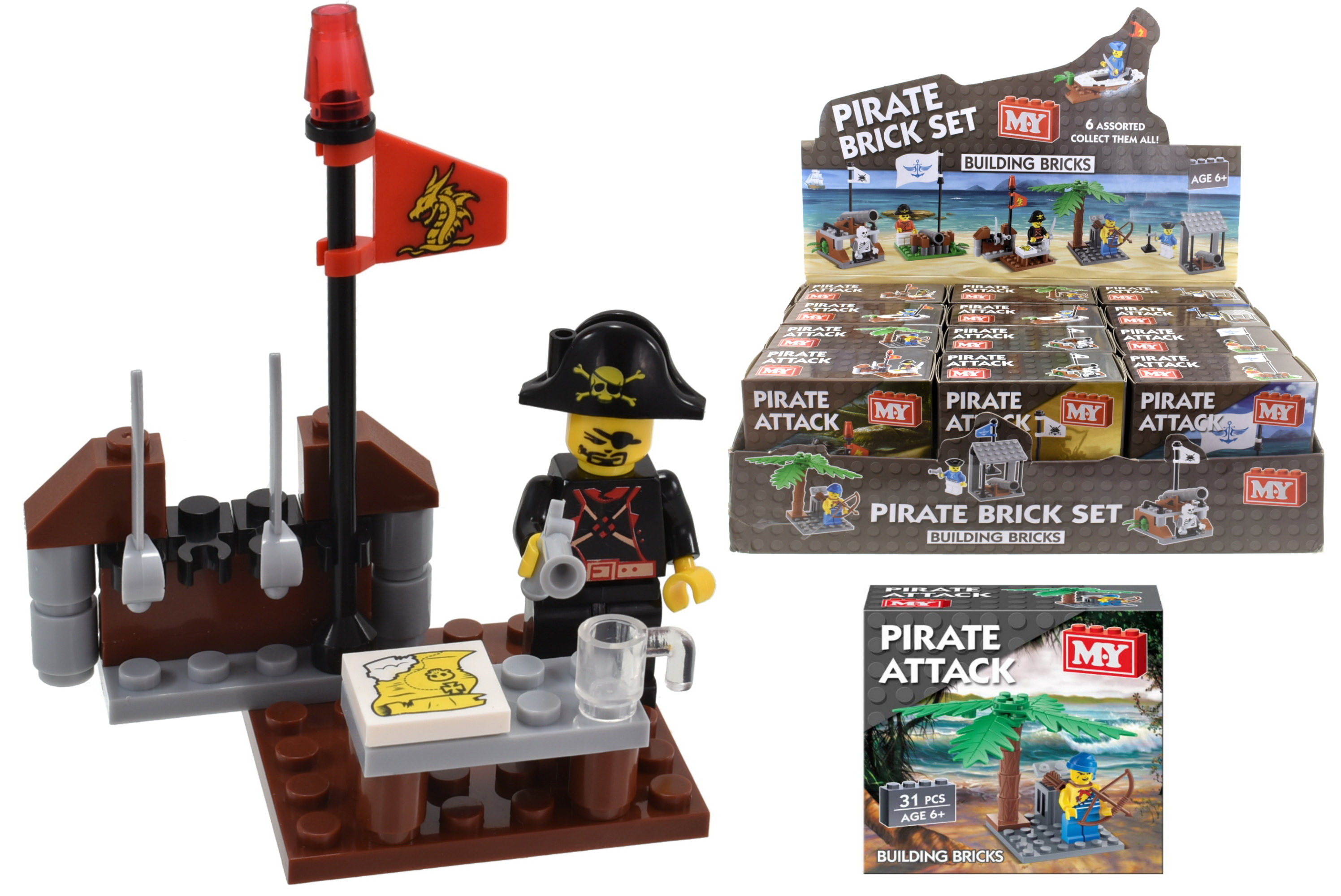 "Pirate Brick Set (6 Assorted) In Display Box ""M.Y"""