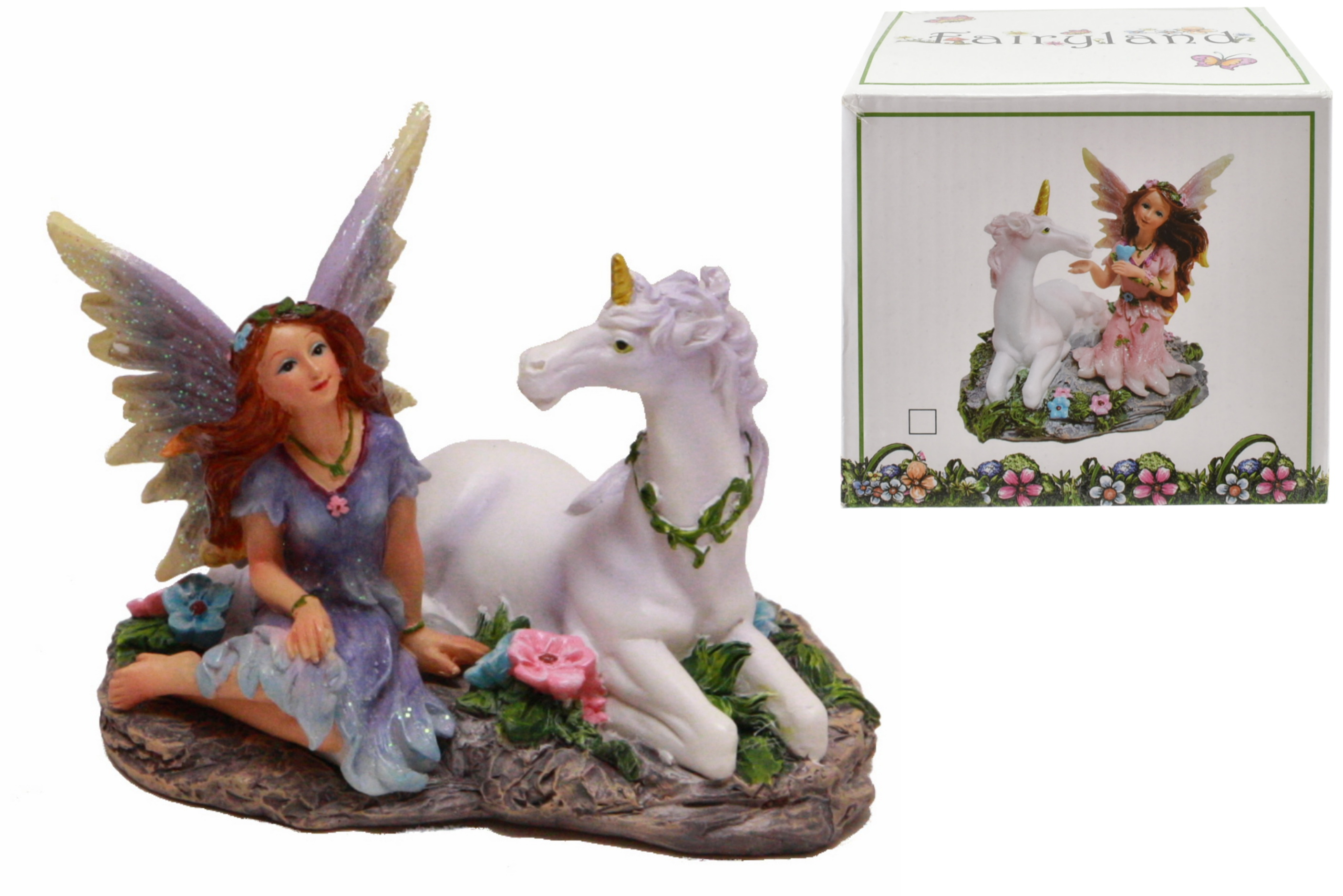 Fairyland Resin Fairy With Unicorn In Colour Box 2 Asst