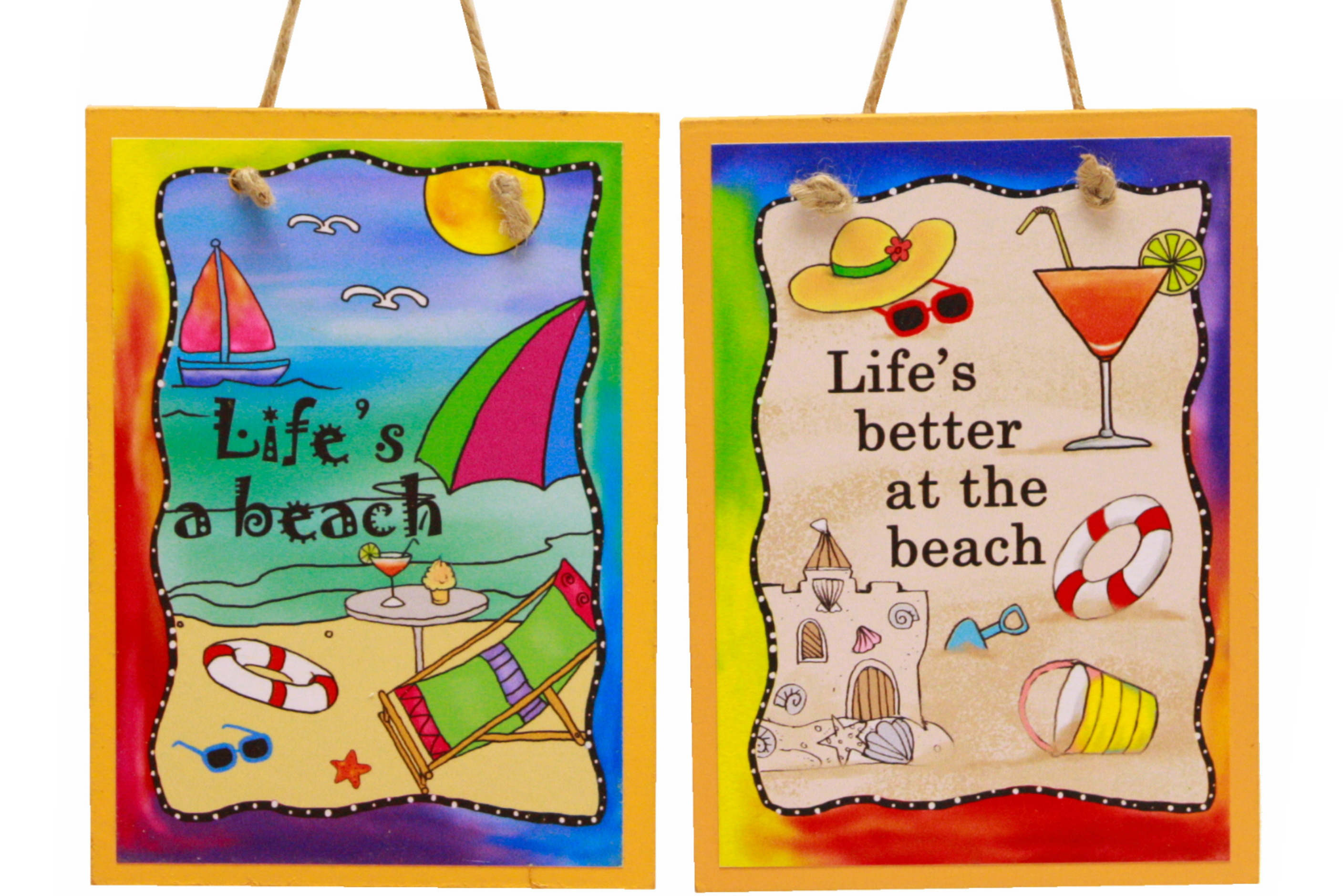 "5"" x 7"" Life Is Fun Hanging Wood Plaque In Dbx 4 Asst"