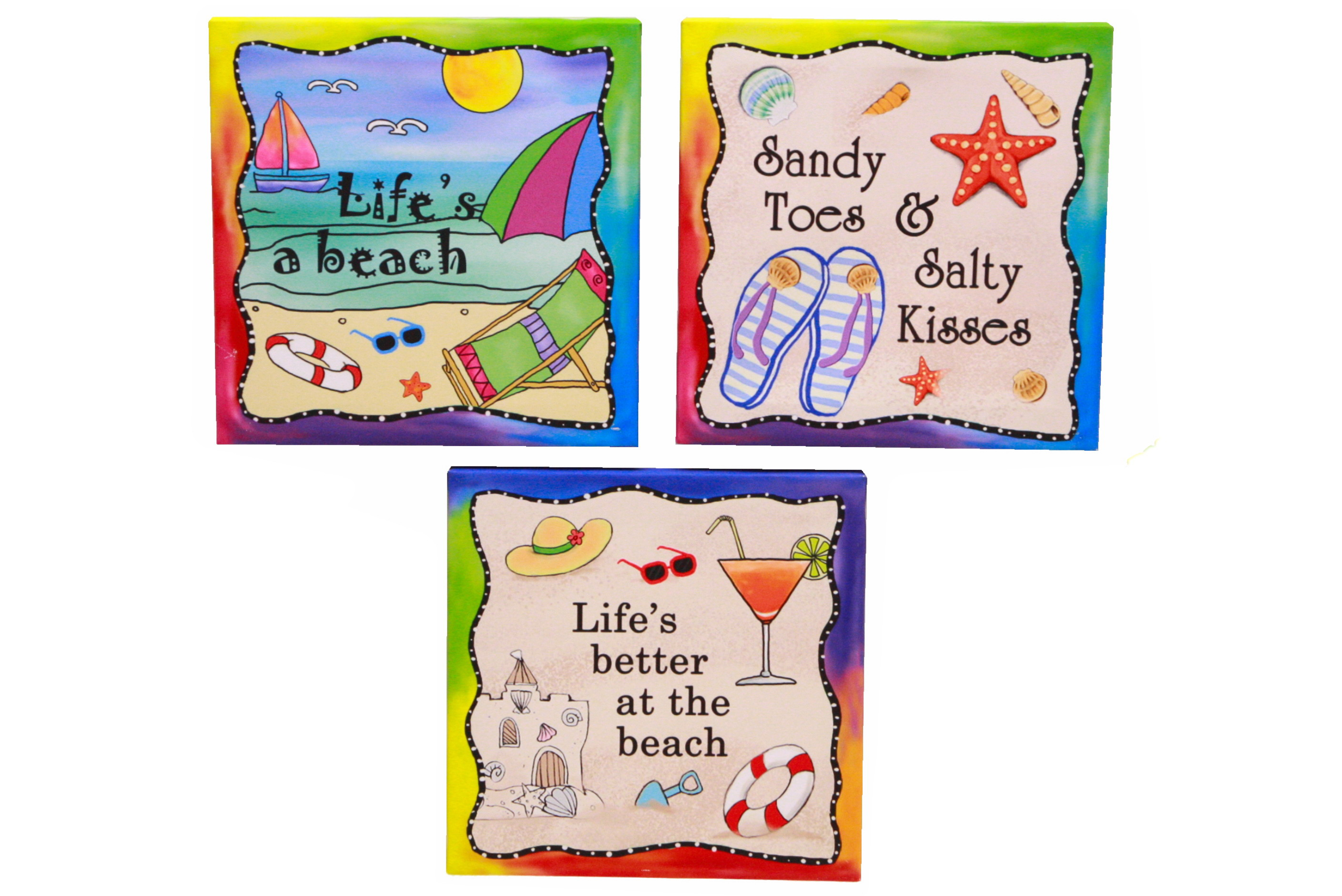 Life Is Fun Canvas Arts Print In Display Box 4 Assorted