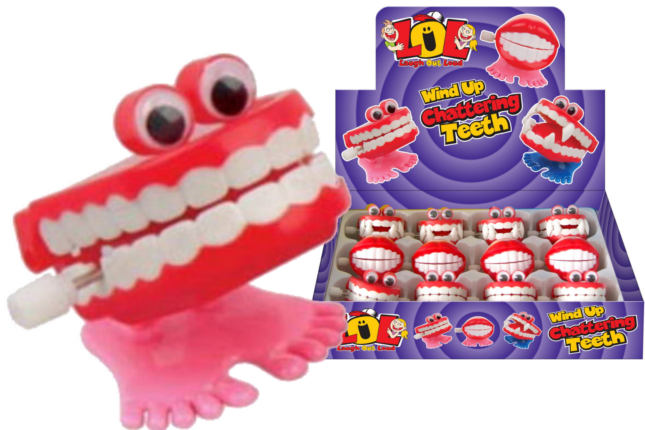 "Wind Up Chattering Teeth In Display Box ""Lol"""