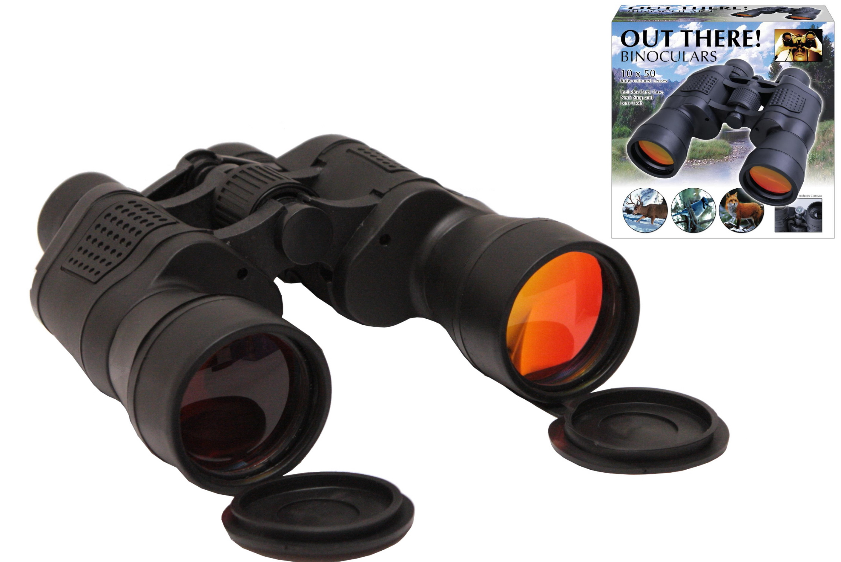 "10 x 50 Large Binoculars In Colour Box ""Out There"""