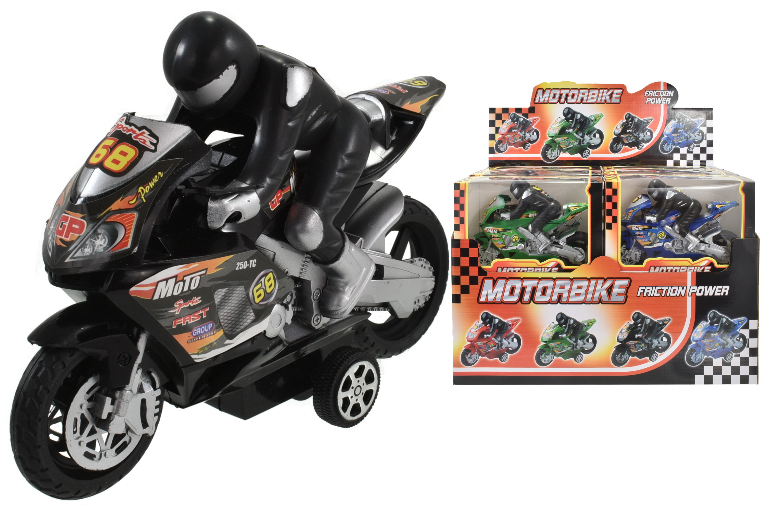 """Friction Motorbike (4 Asst) In Wbx/Dbx """"Street Machine"""""""