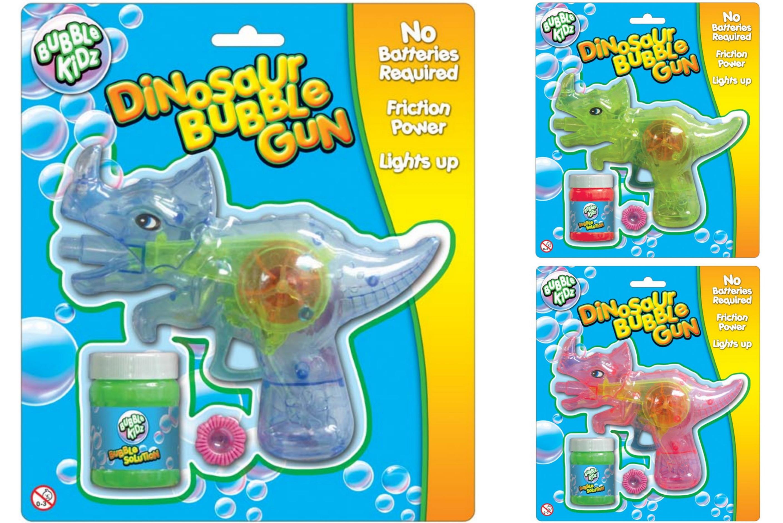 """Light Up Friction Dino Bubble Gun (3 Asst)""""Bubble Kidz"""""""