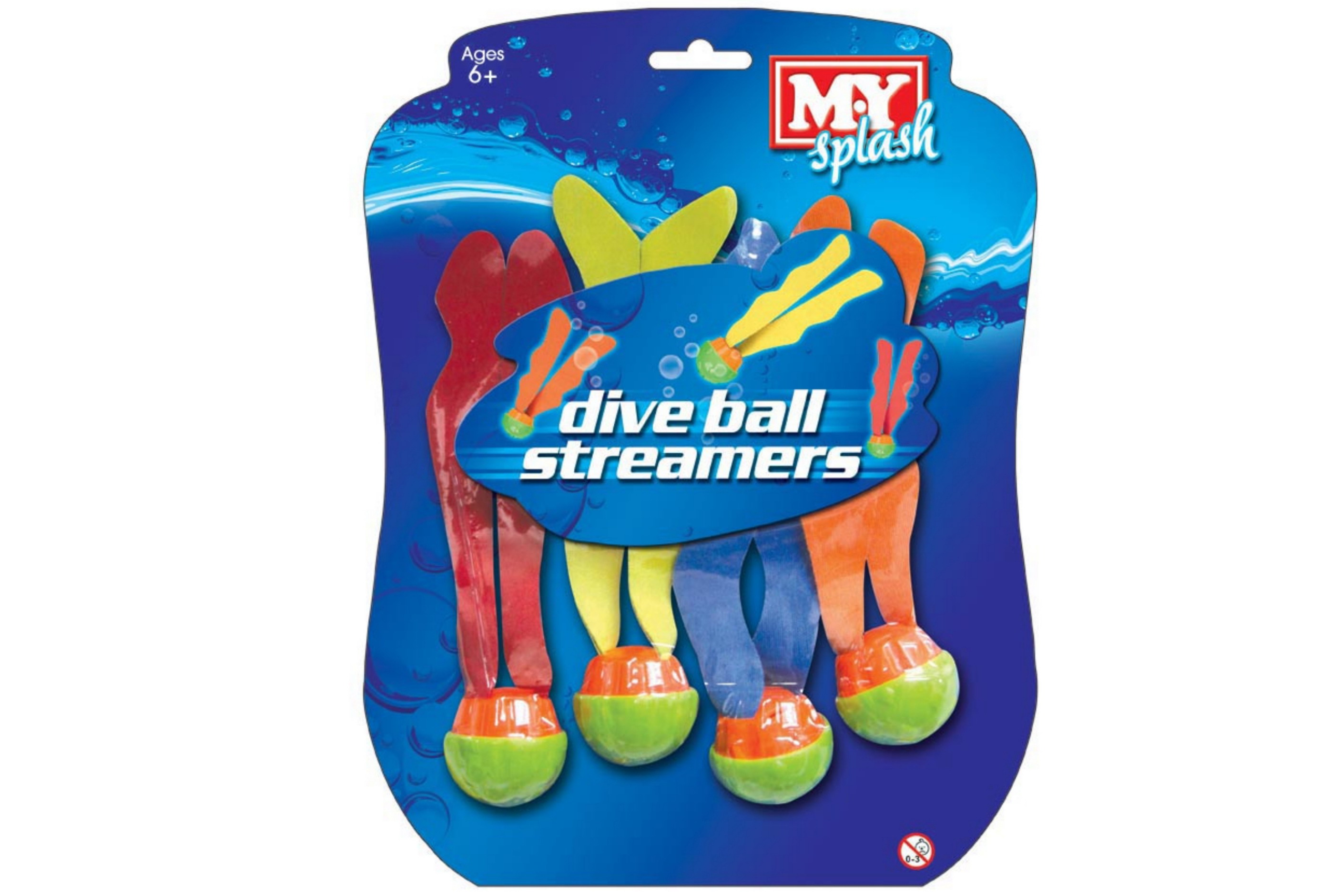 """4pc Dive Ball Streamers On Blistercard """"M.Y"""""""