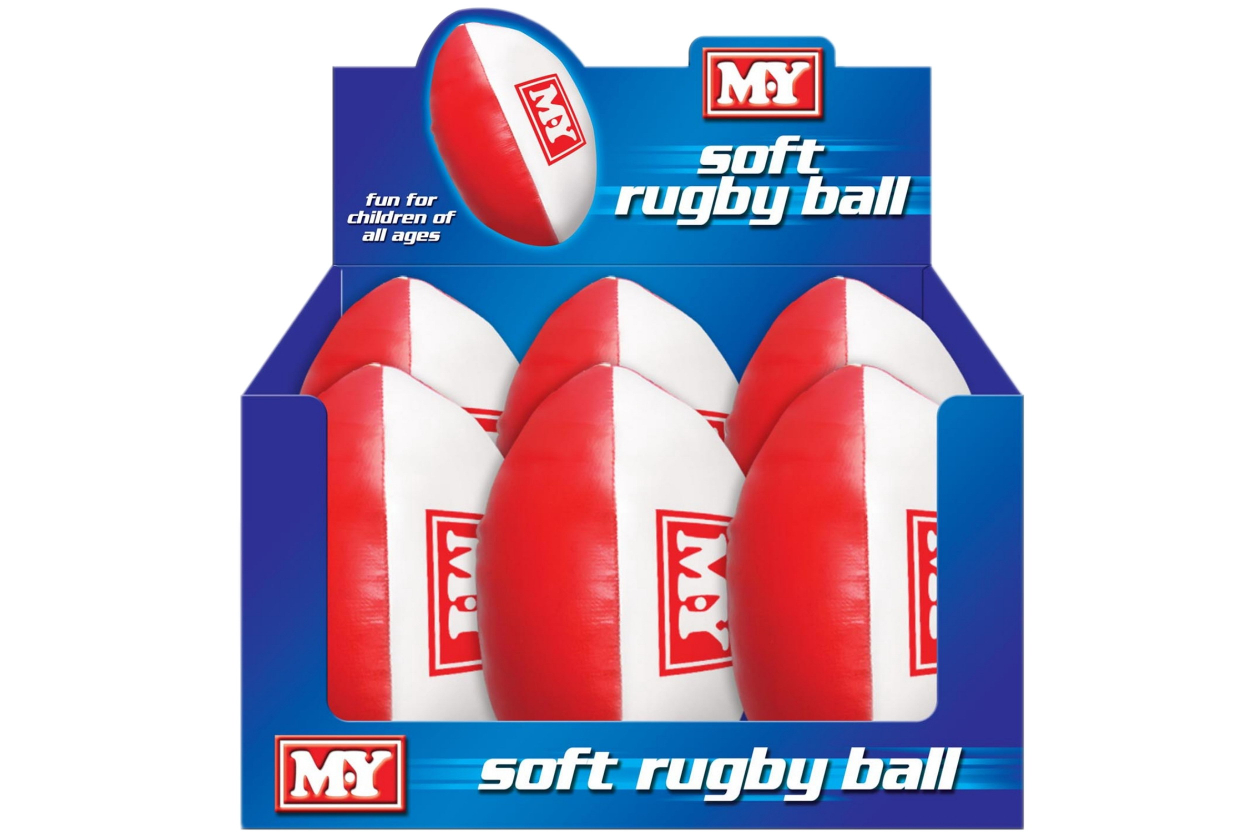 "9"" Pvc Soft Rugby Ball In Display Box ""M.Y"""