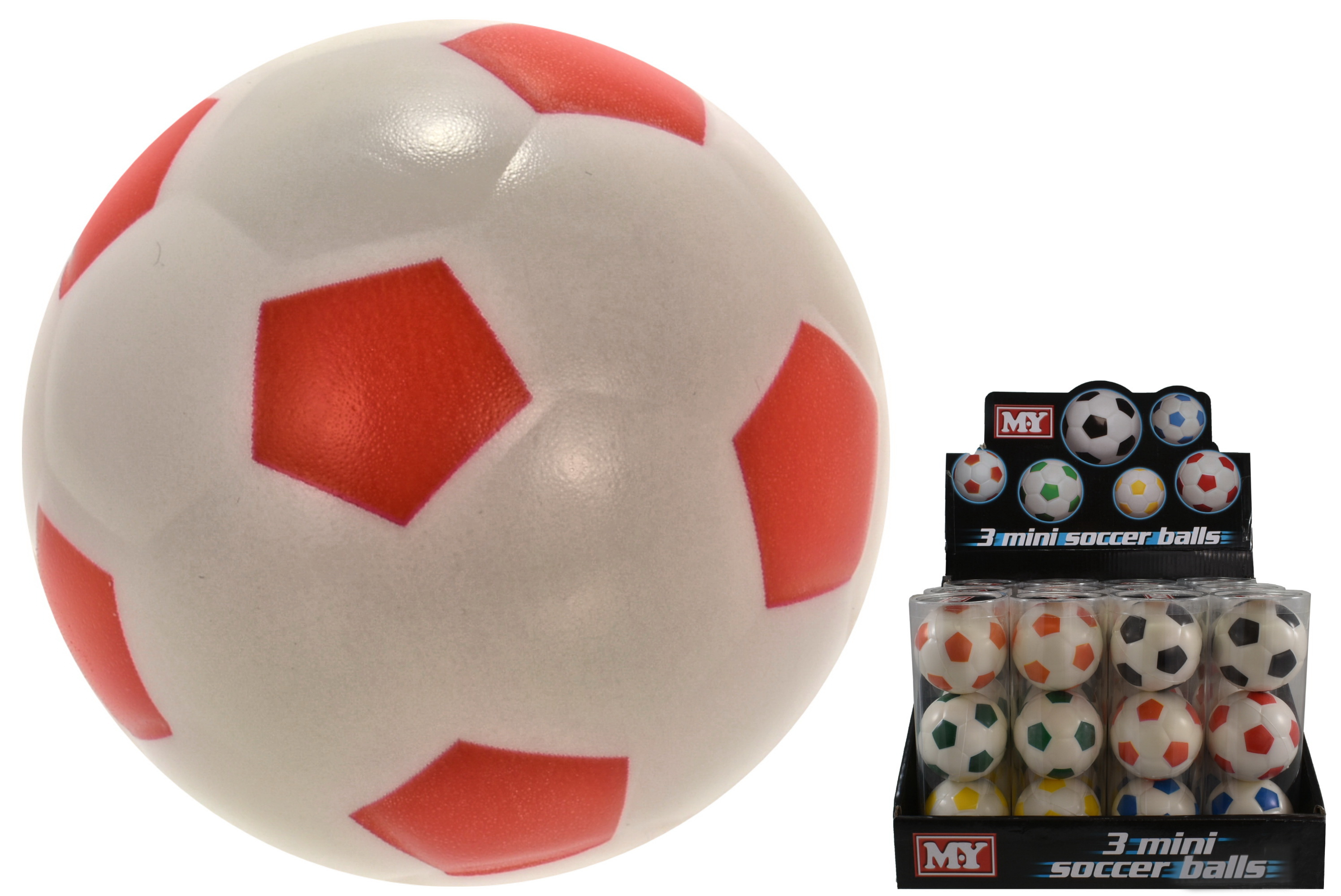 "3pc Pu Ball 63mm Soccer Style (6 Asst) Acetate Tub""M.Y"""