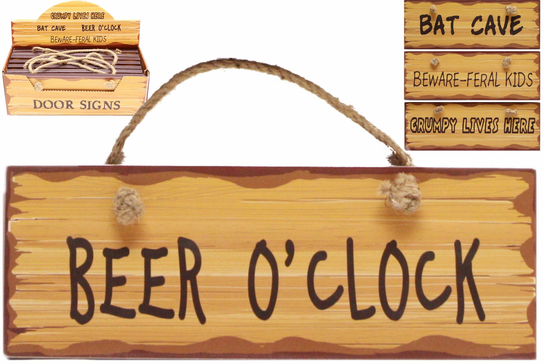 Wooden Door Signs (4 Assorted) In Display Box