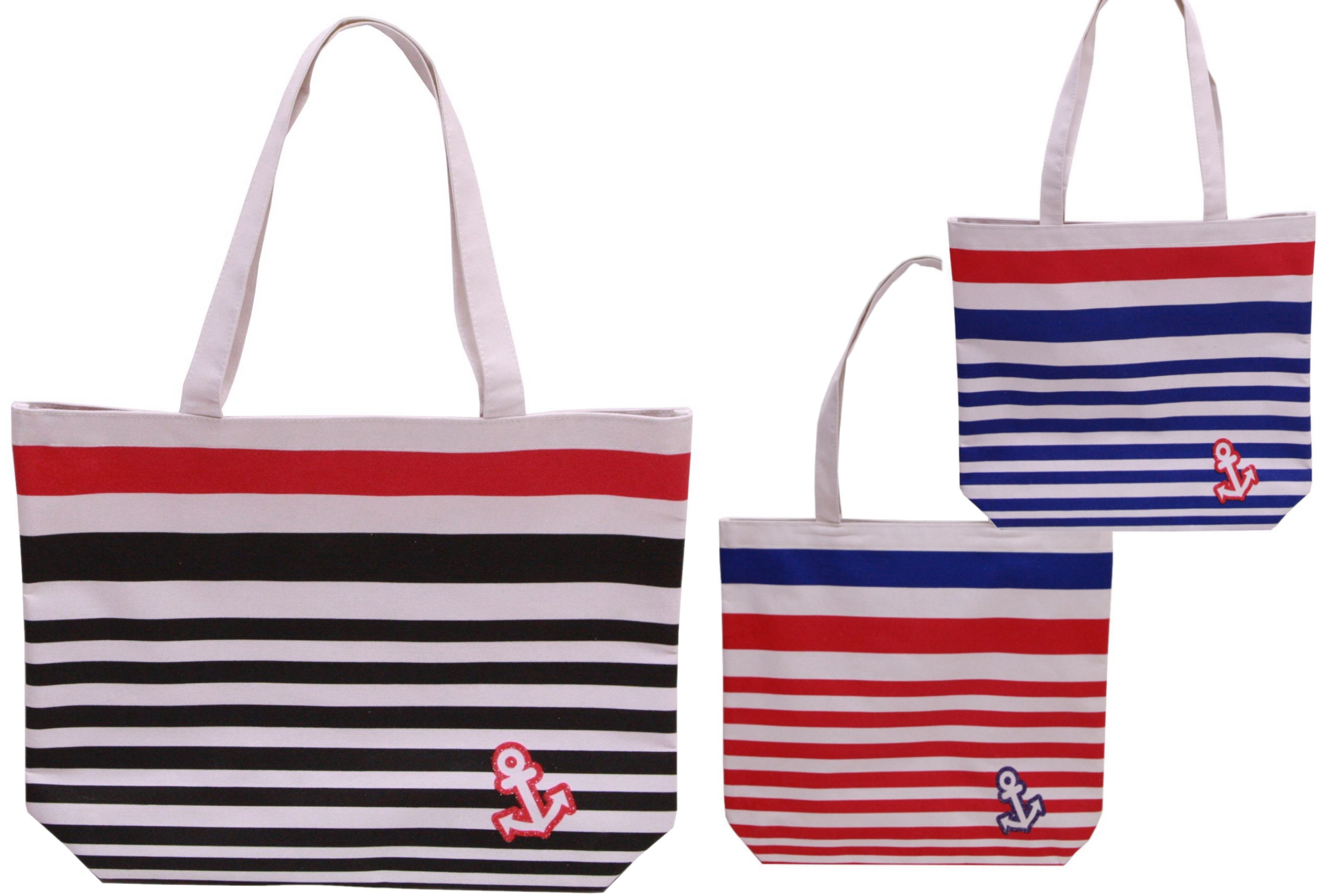 Striped Beach Bag - 3 Assorted Colours