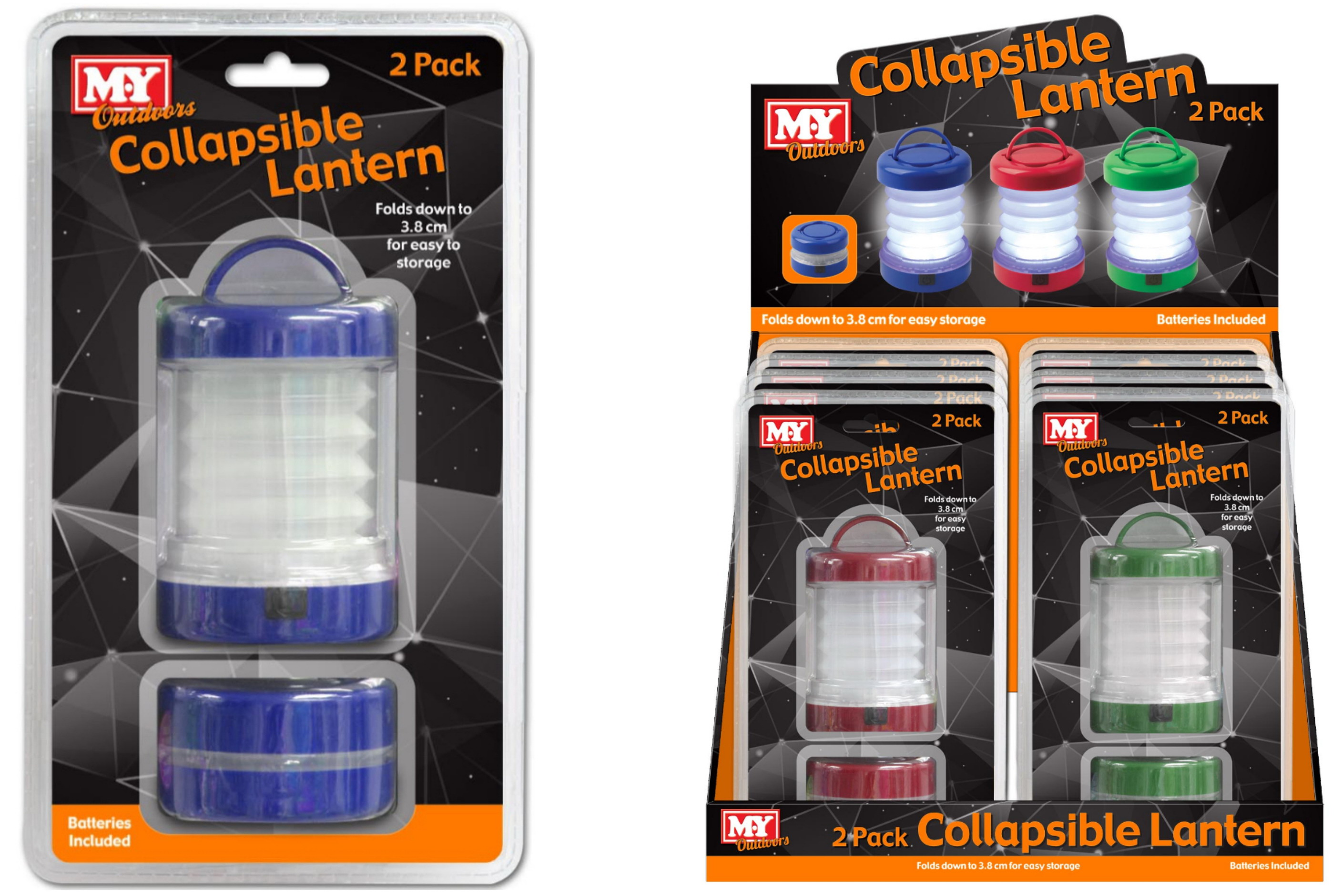 Collapsible Lantern With Battery In Clamshell & Disp Bx