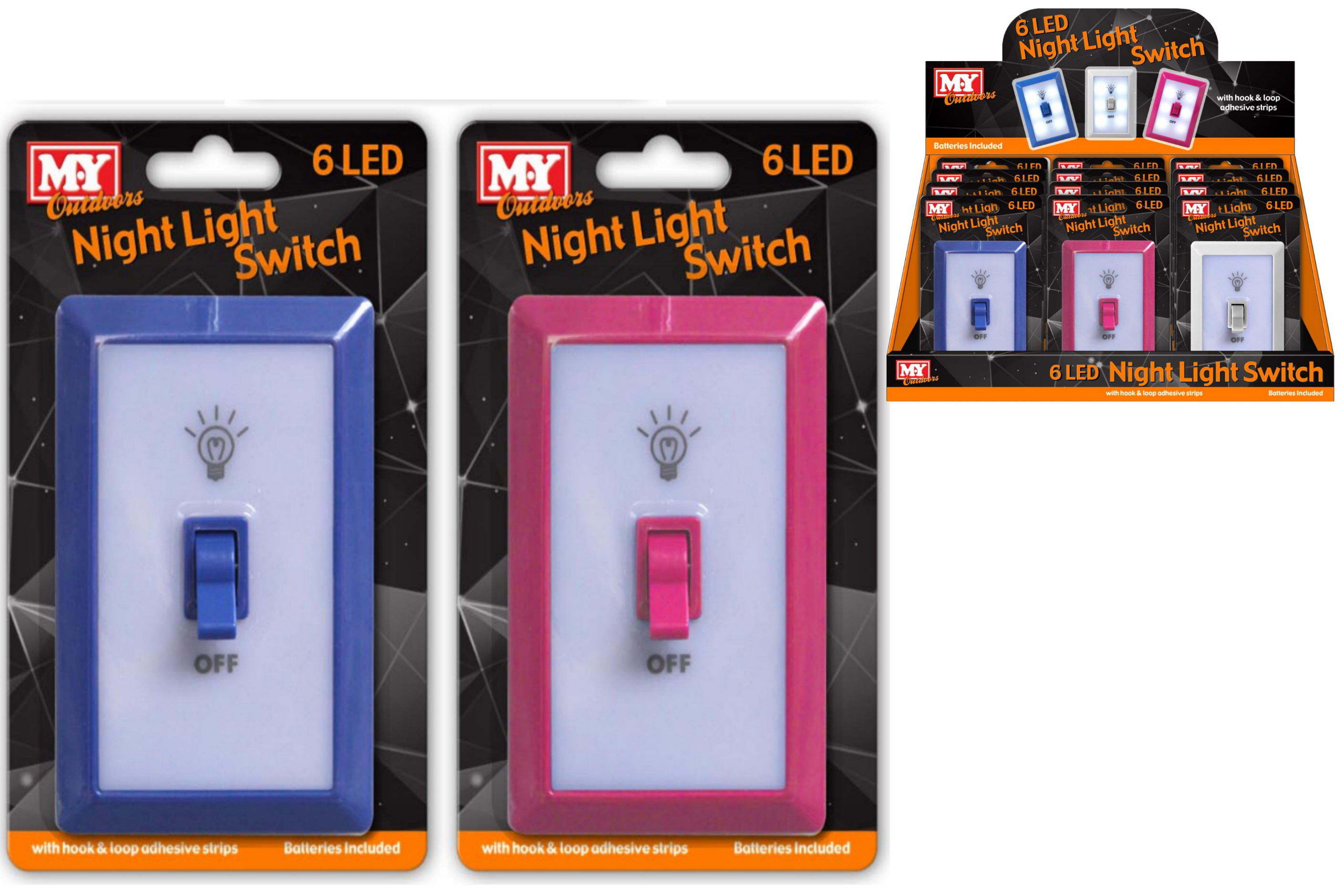 6 Led Night Light Switch With Battery - Blister/Display