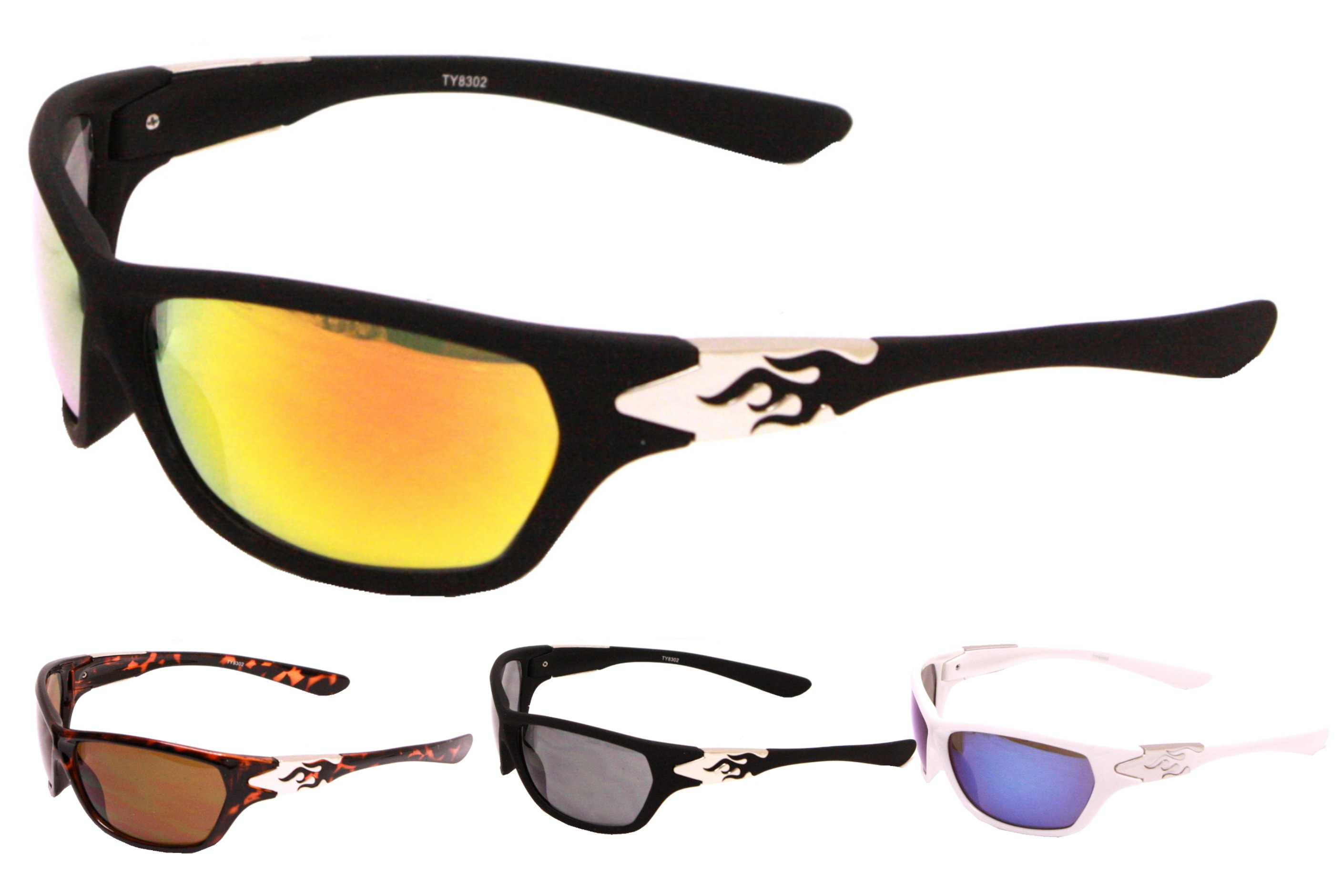 Adults Plastic Wrap Sunglasses - 4 Assorted