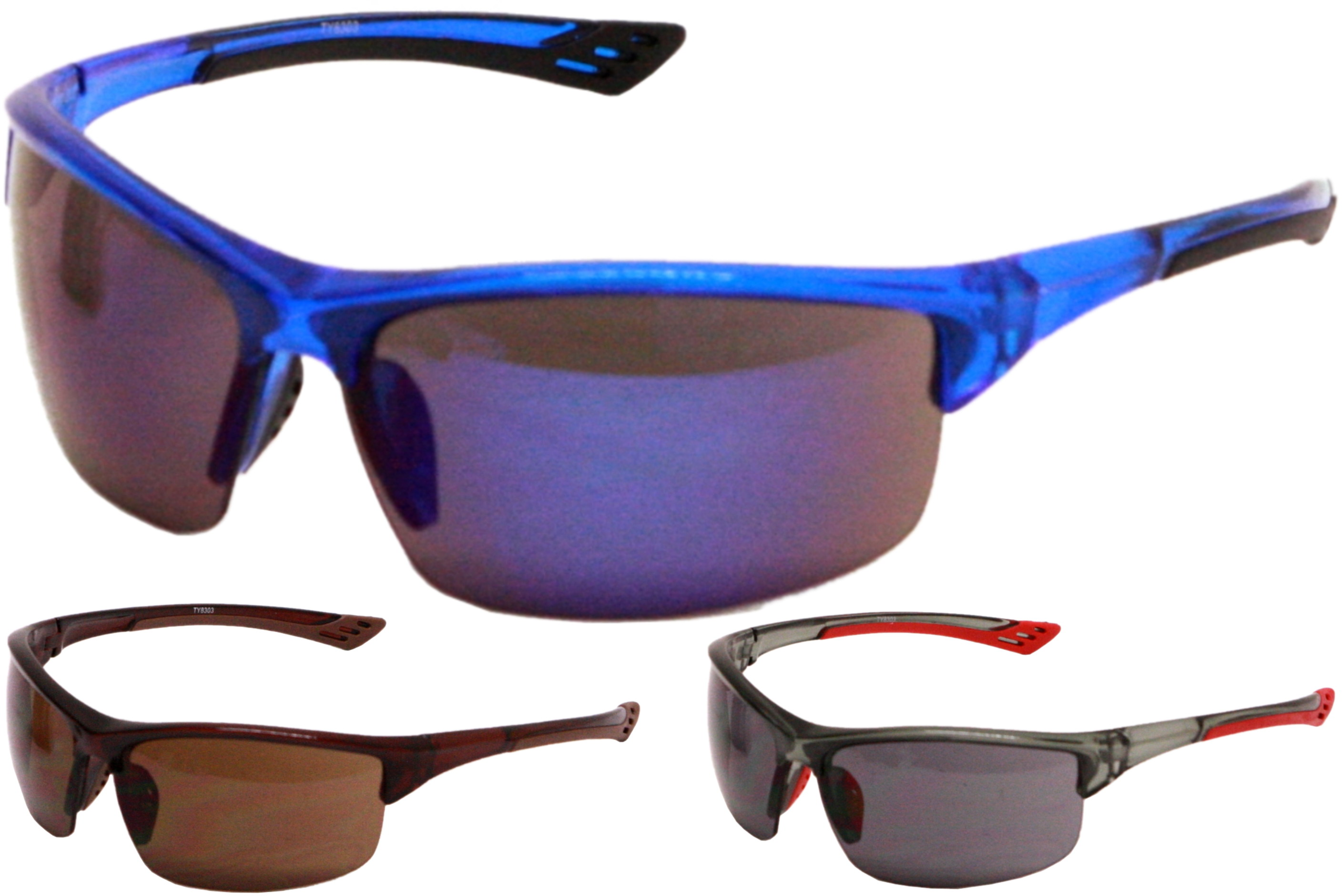 Adult Plastic 1/2 Frame Wrap Sunglasses - 4 Assorted