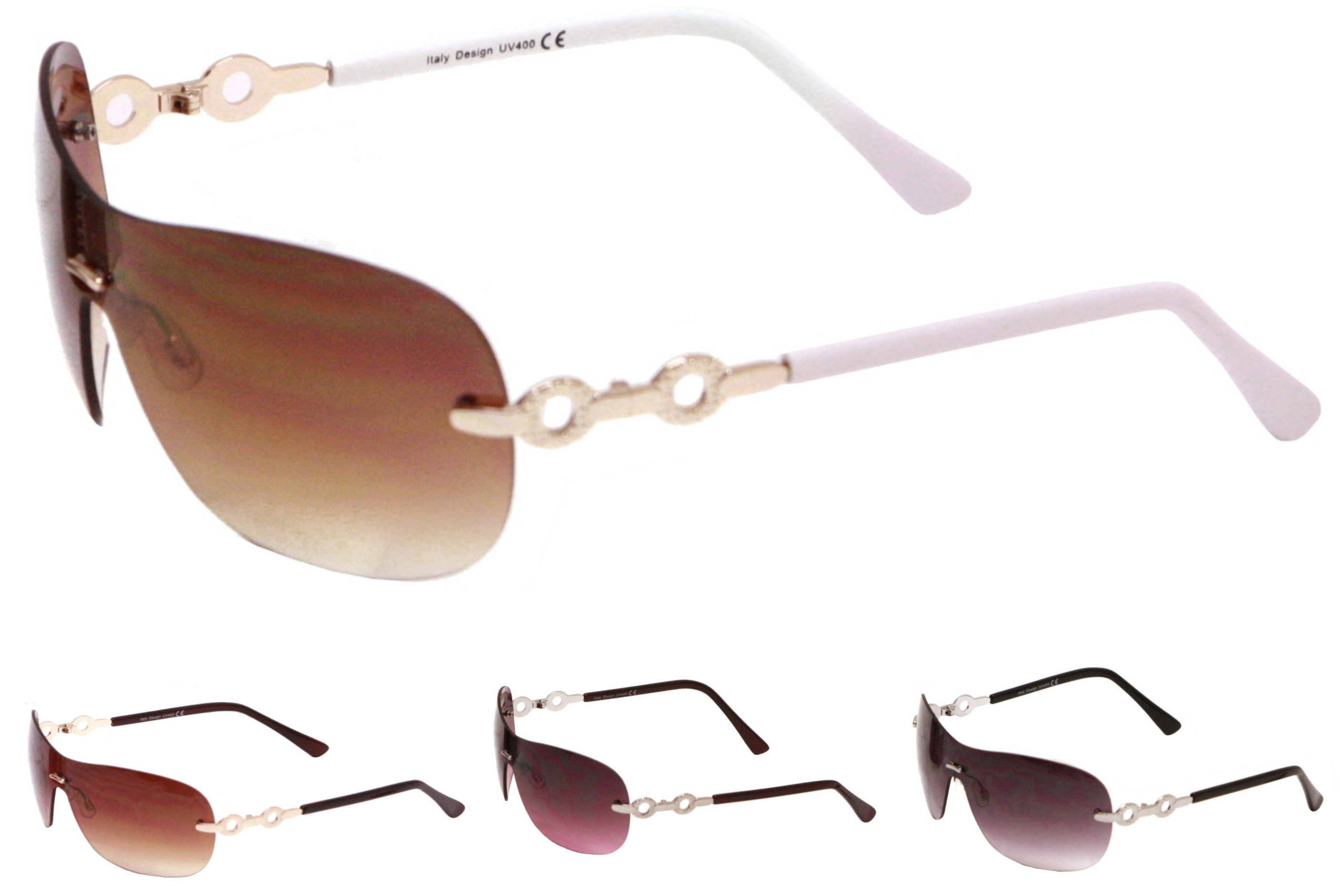 Adult Frameless Sunglasses With Arm Detail - 4 Assorted