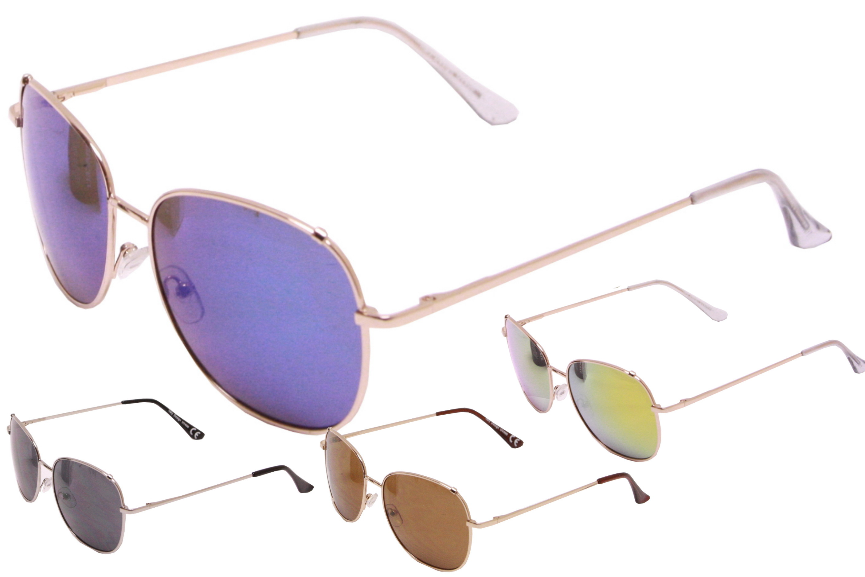 Adult Metal Frame Sunglasses - 4 Assorted