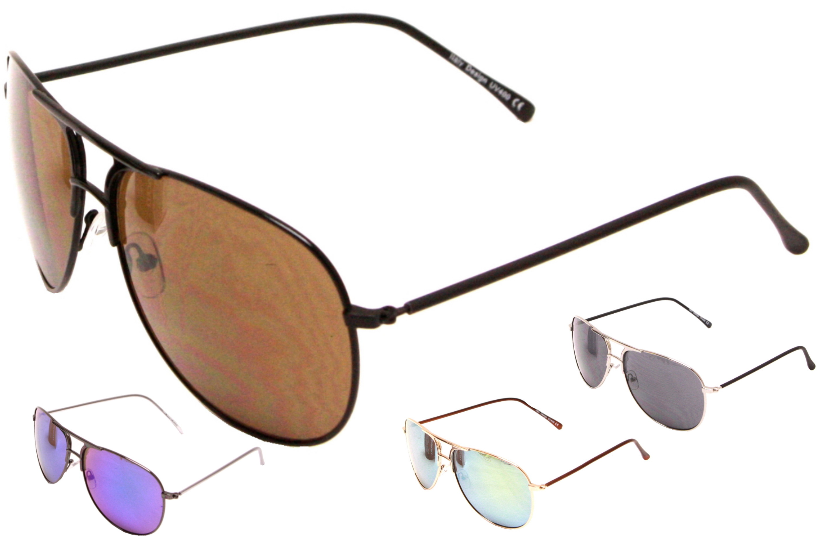 Adult Large Lens Metal Framed Sunglasses - 4 Assorted