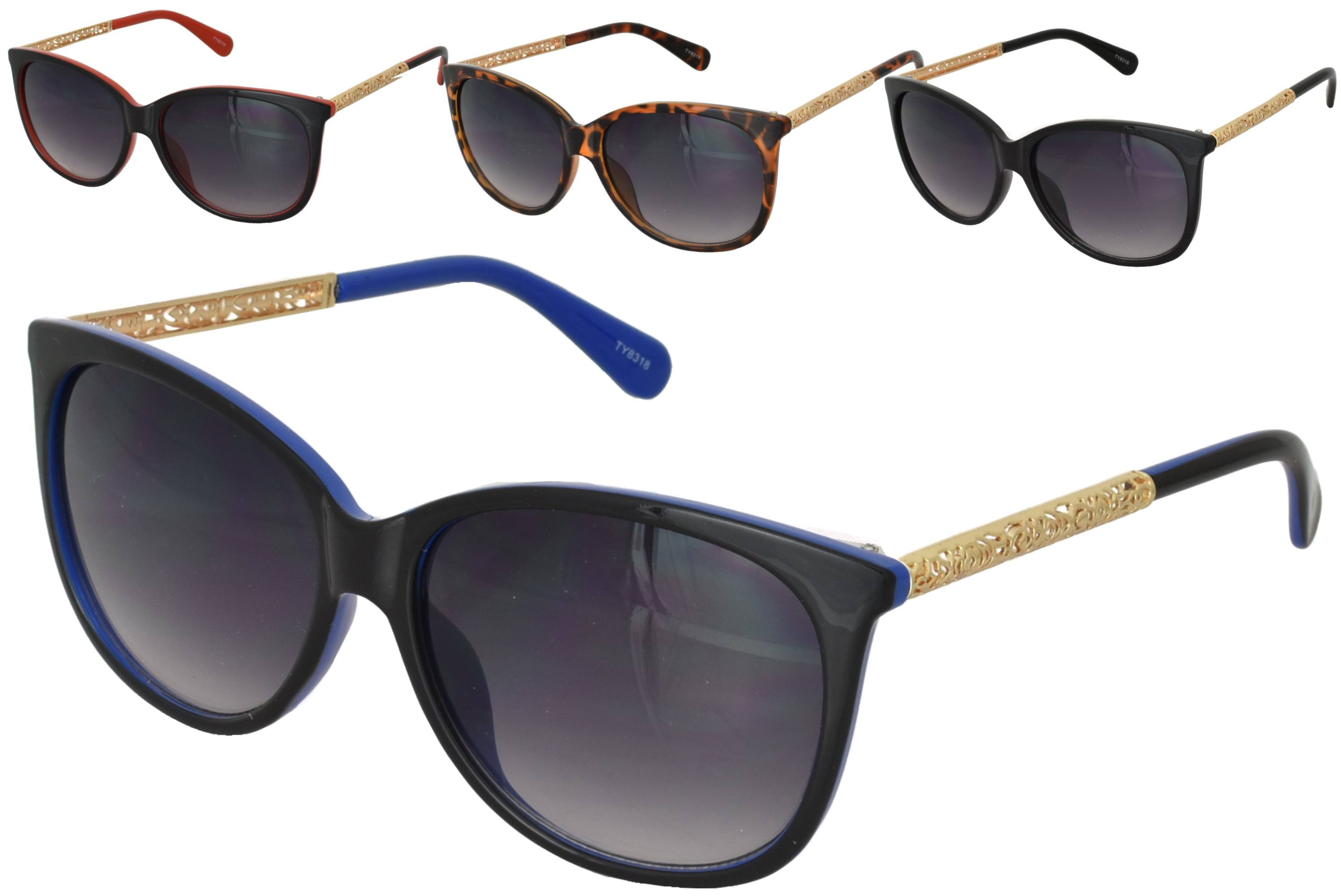 Adult 2 Tone Plastic Frame Sunglasses - 4 Assorted