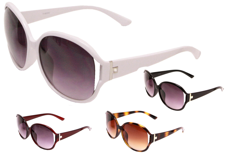 Adult Large Lens Plastic Frame Sunglasses - 4 Assorted