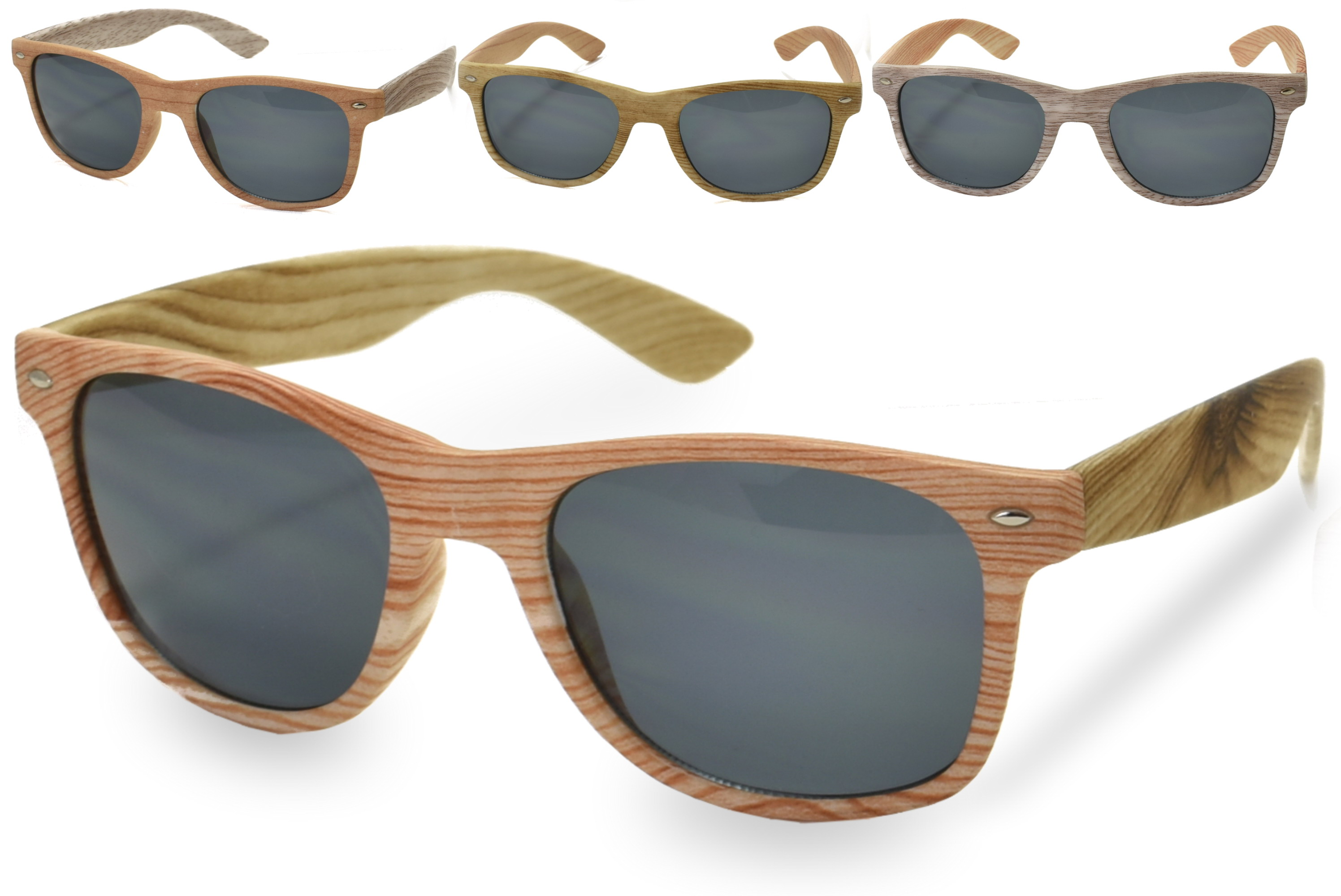 Adults Wood Effect Plastic Frame Sunglasses - 4 Asst