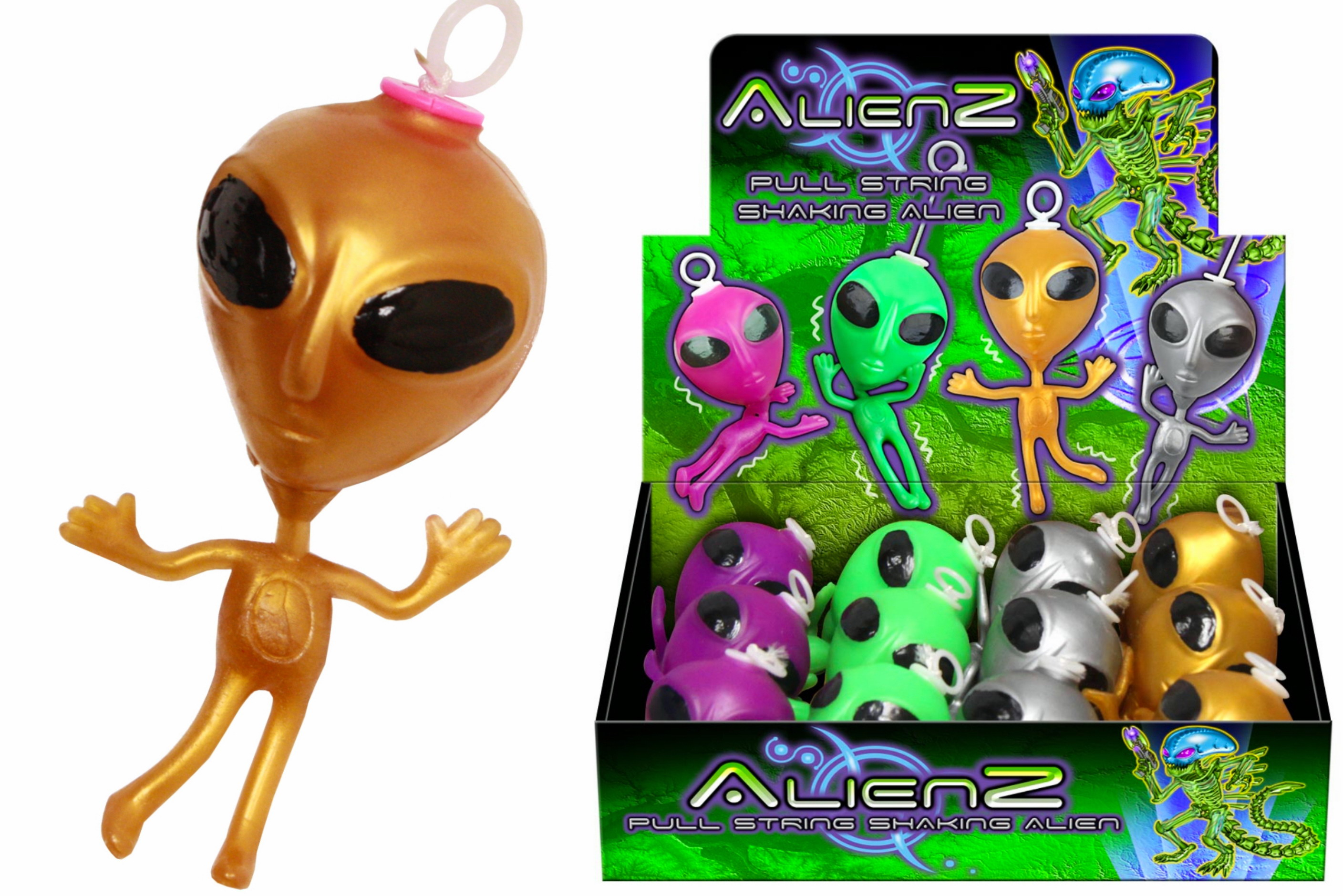 "Pull String Shaking Alien (6 Asst) In Disp Box ""Alienz"""