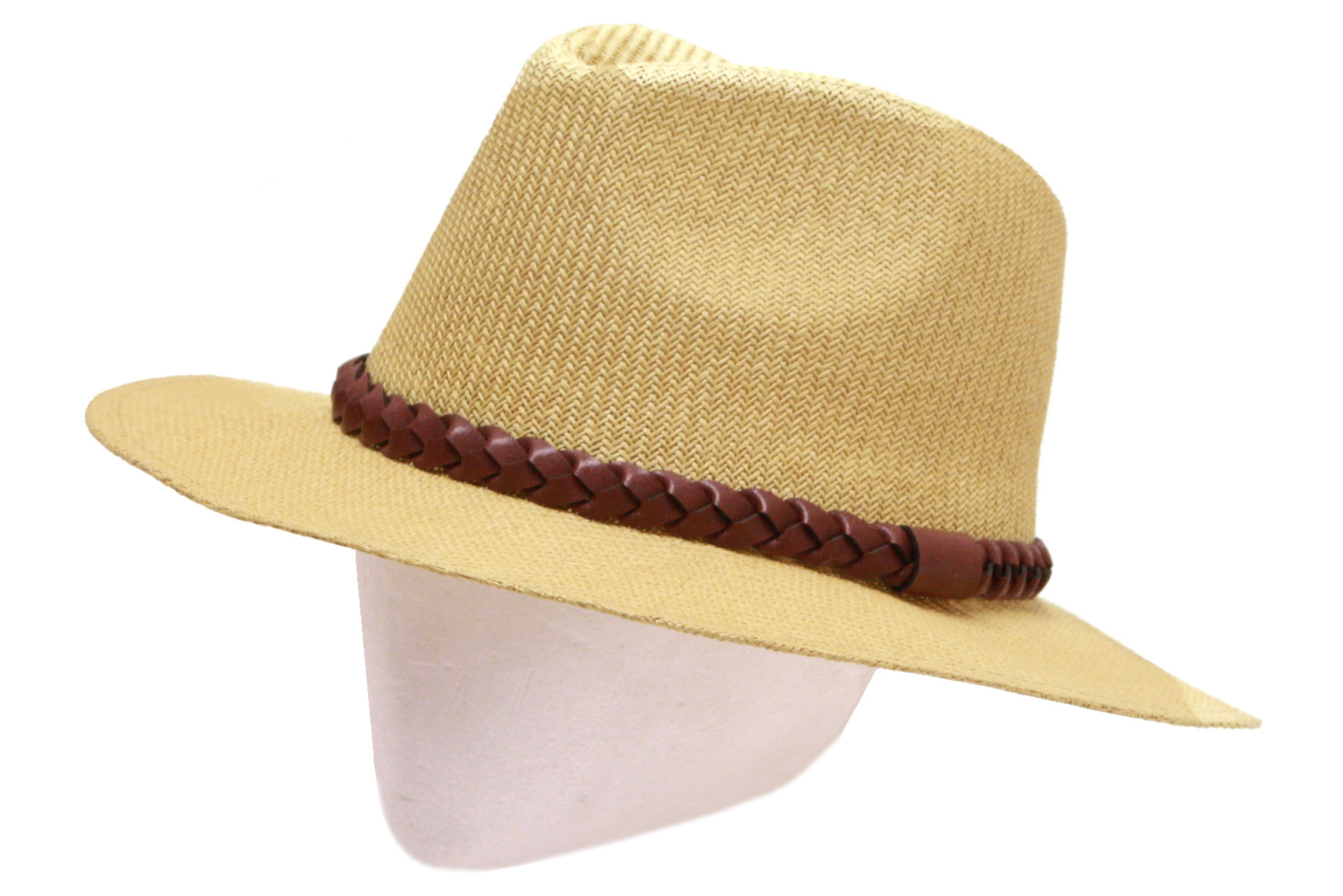 Fedora Style Hat With Pu Faux Leather Band