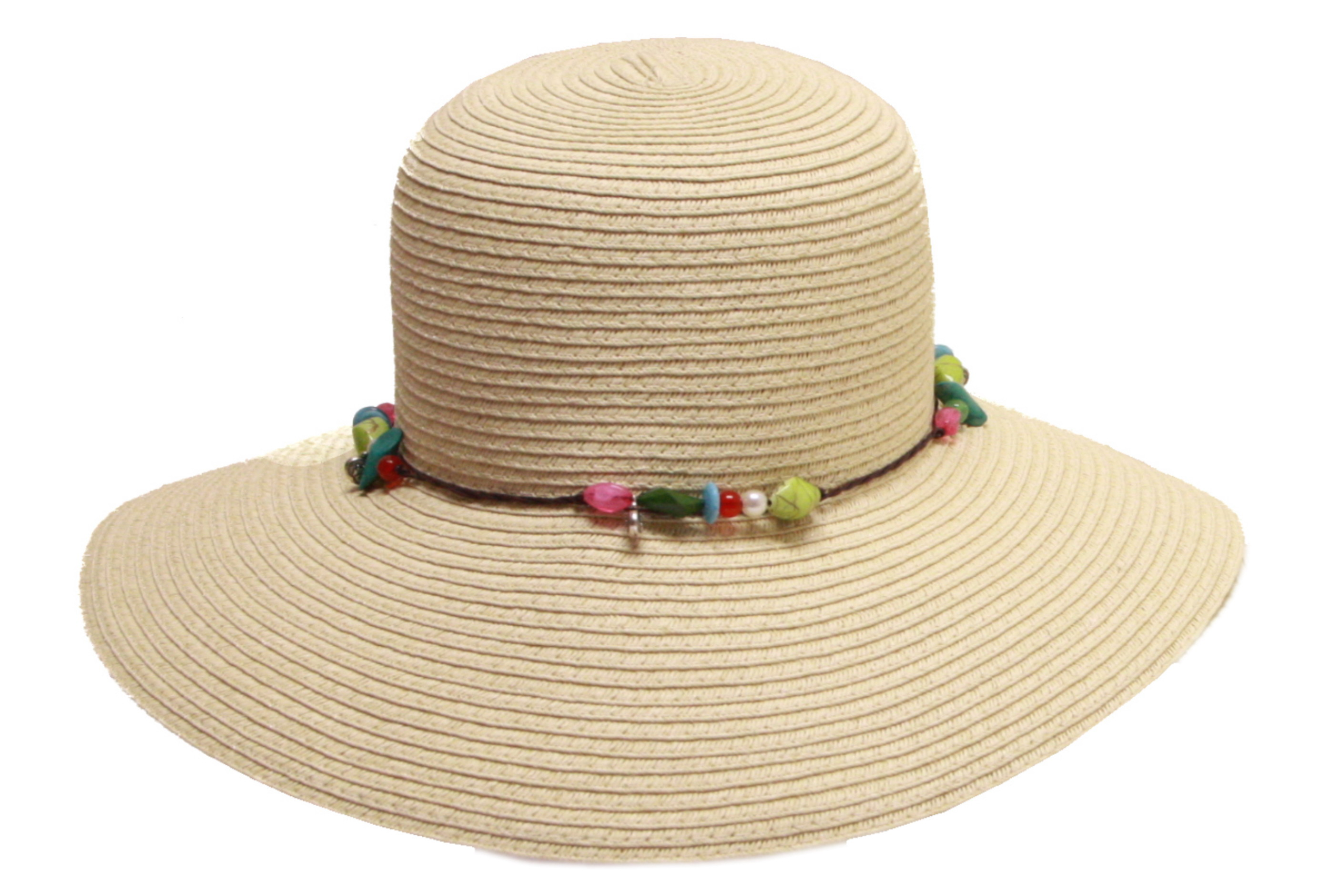 Floppy Hat With String Bow & Beads