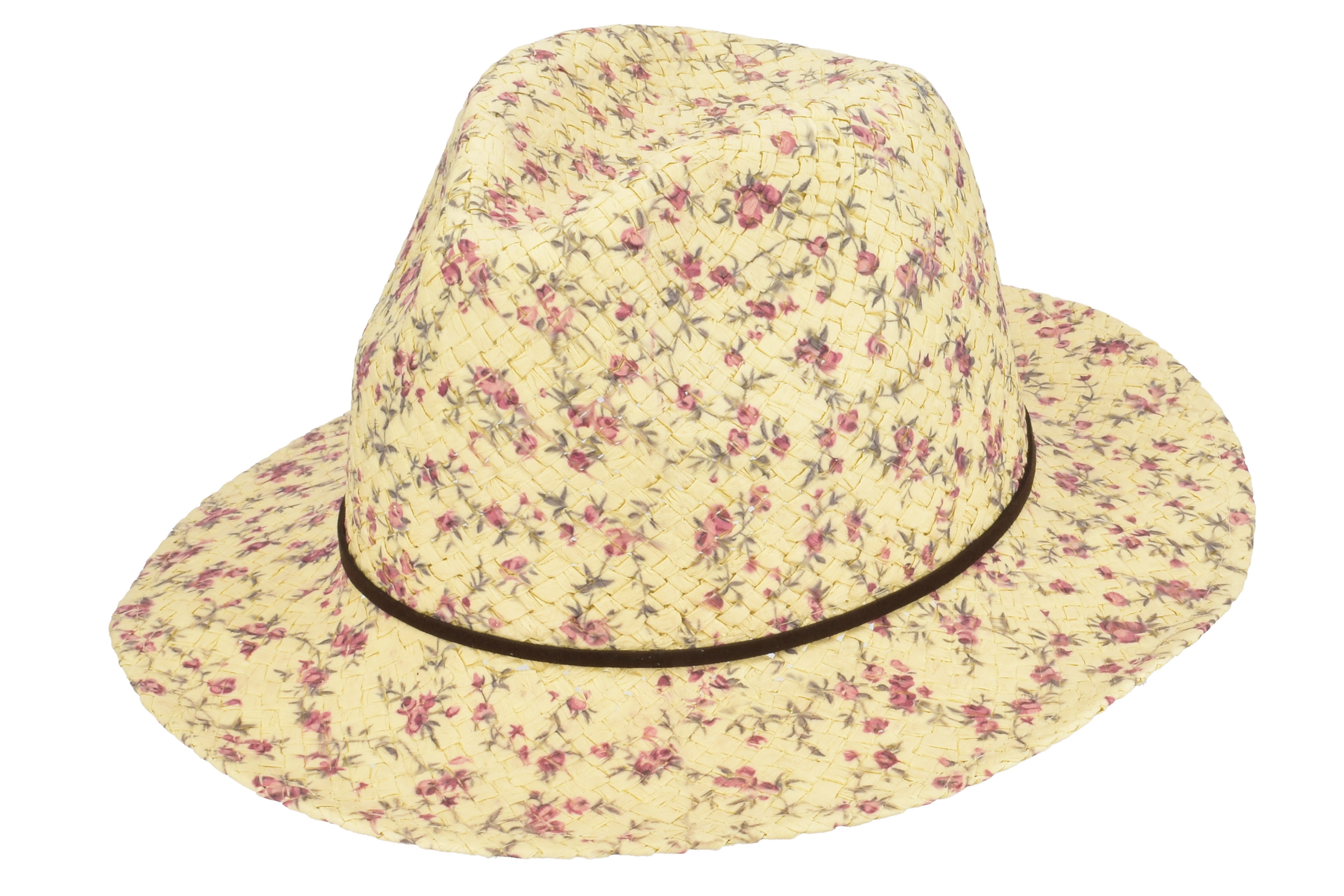 Flat Trilby Hat With Flower Print & Thin Ribbon