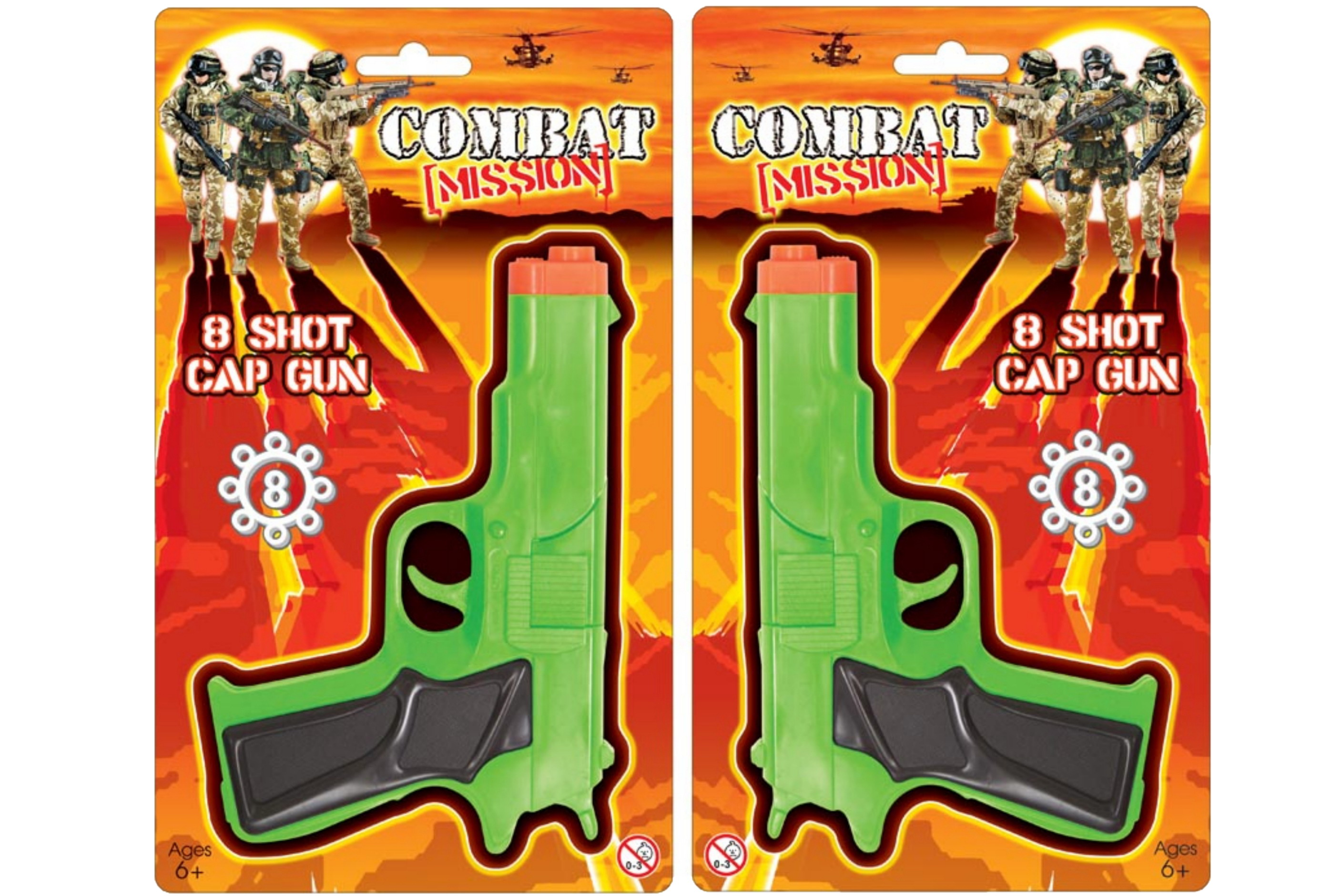 "8 Shot Cap Gun On Blistercard ""Combat Mission"""