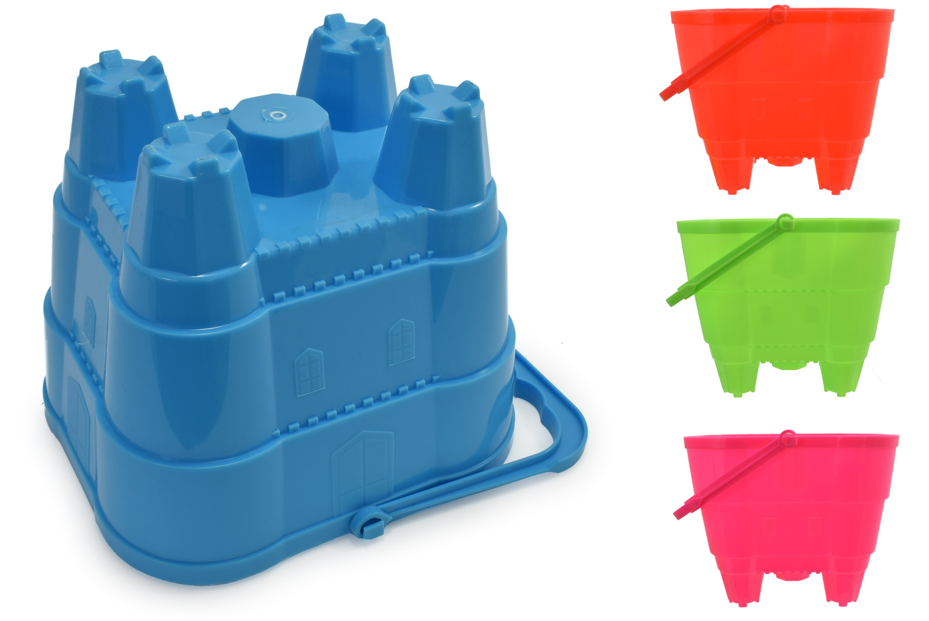 "16cm Large Square Castle Bucket (4 Assorted Neon)""Nalu"""
