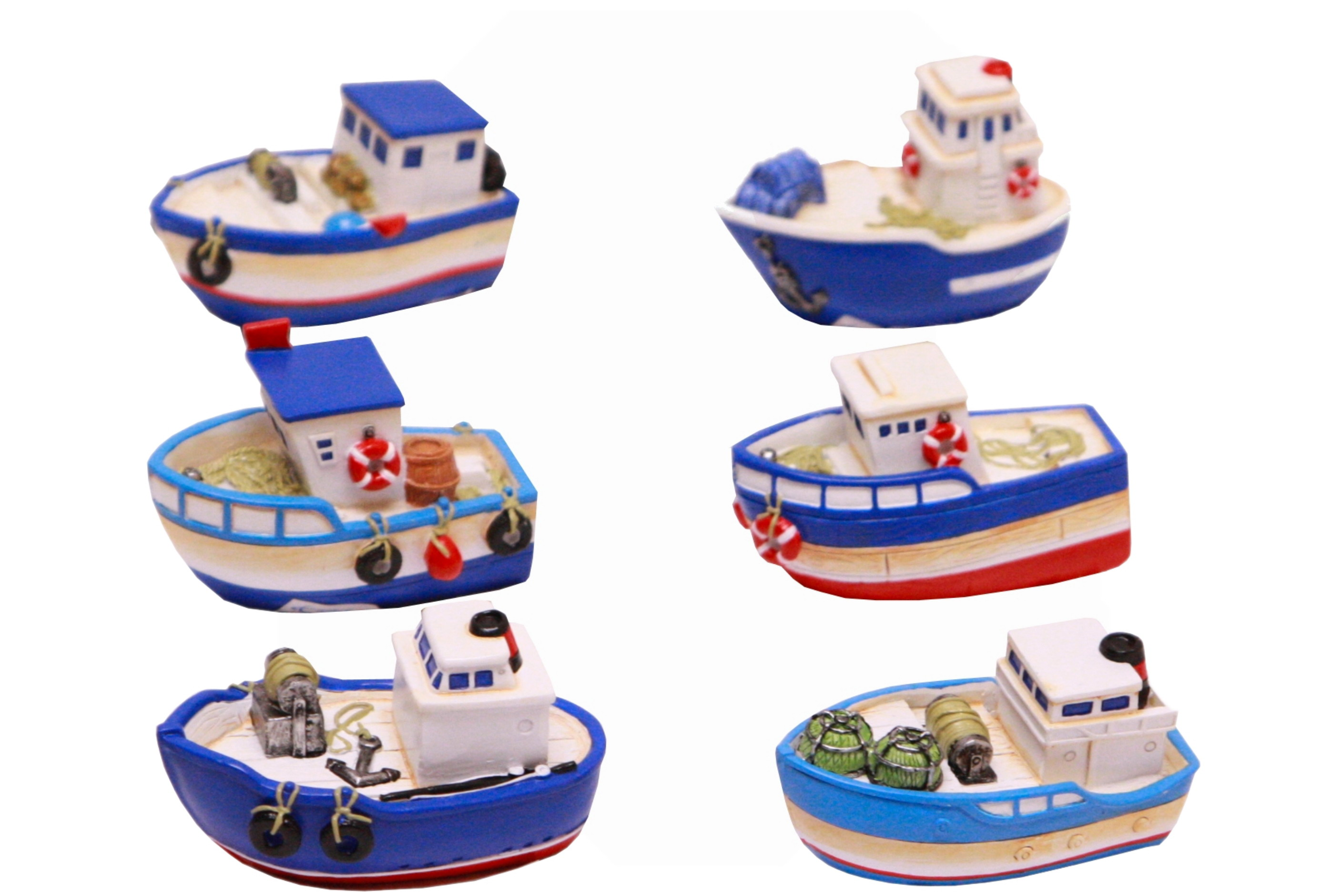 7cm Resin Fishing Boat 6 Assorted